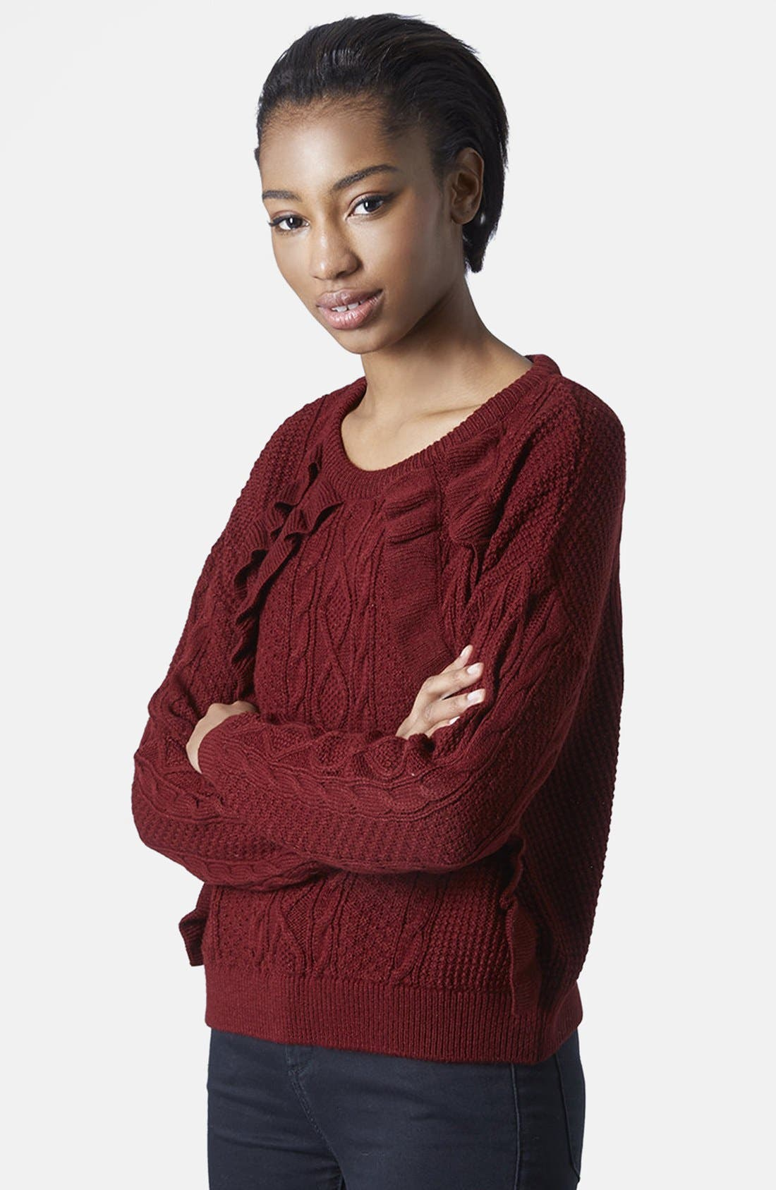 Main Image - Topshop Frill Raglan Knit Sweater