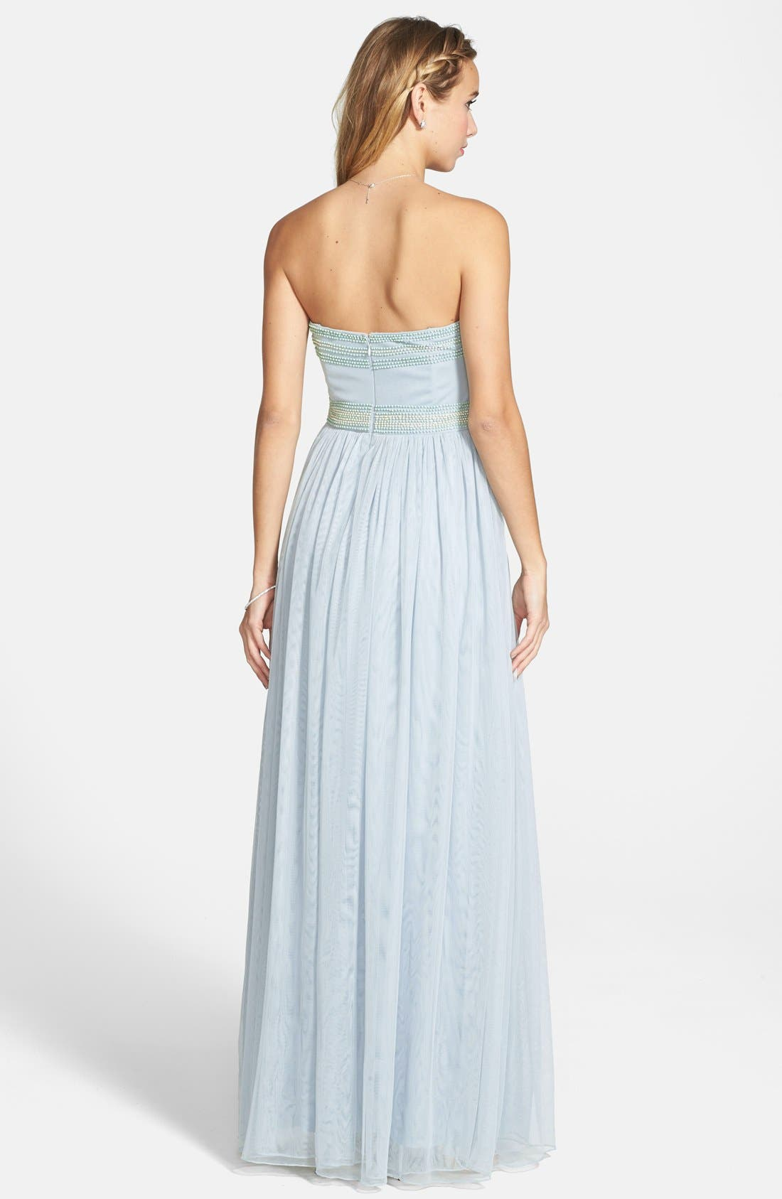 Alternate Image 2  - Adrianna Papell Beaded Chiffon Strapless Gown