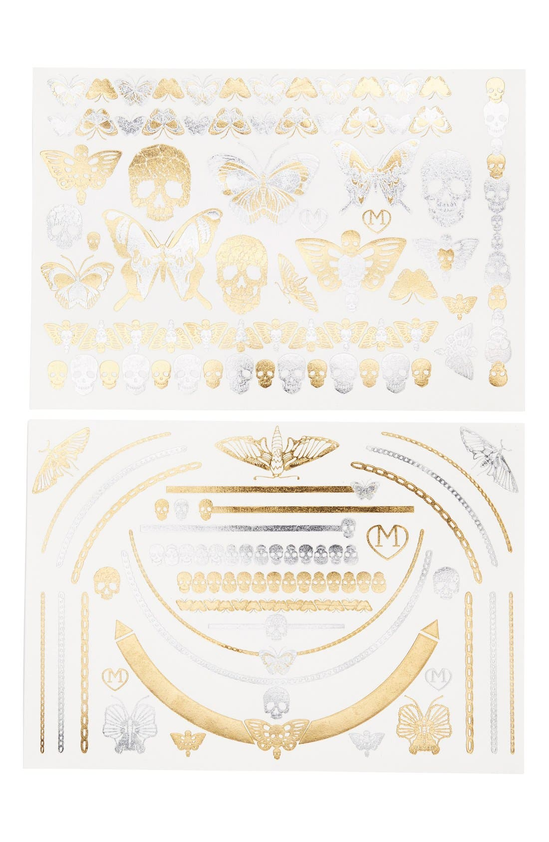 Main Image - Madness Accessories 'Skulls & Butterflies' Temporary Flash Tattoos (2-Pack)