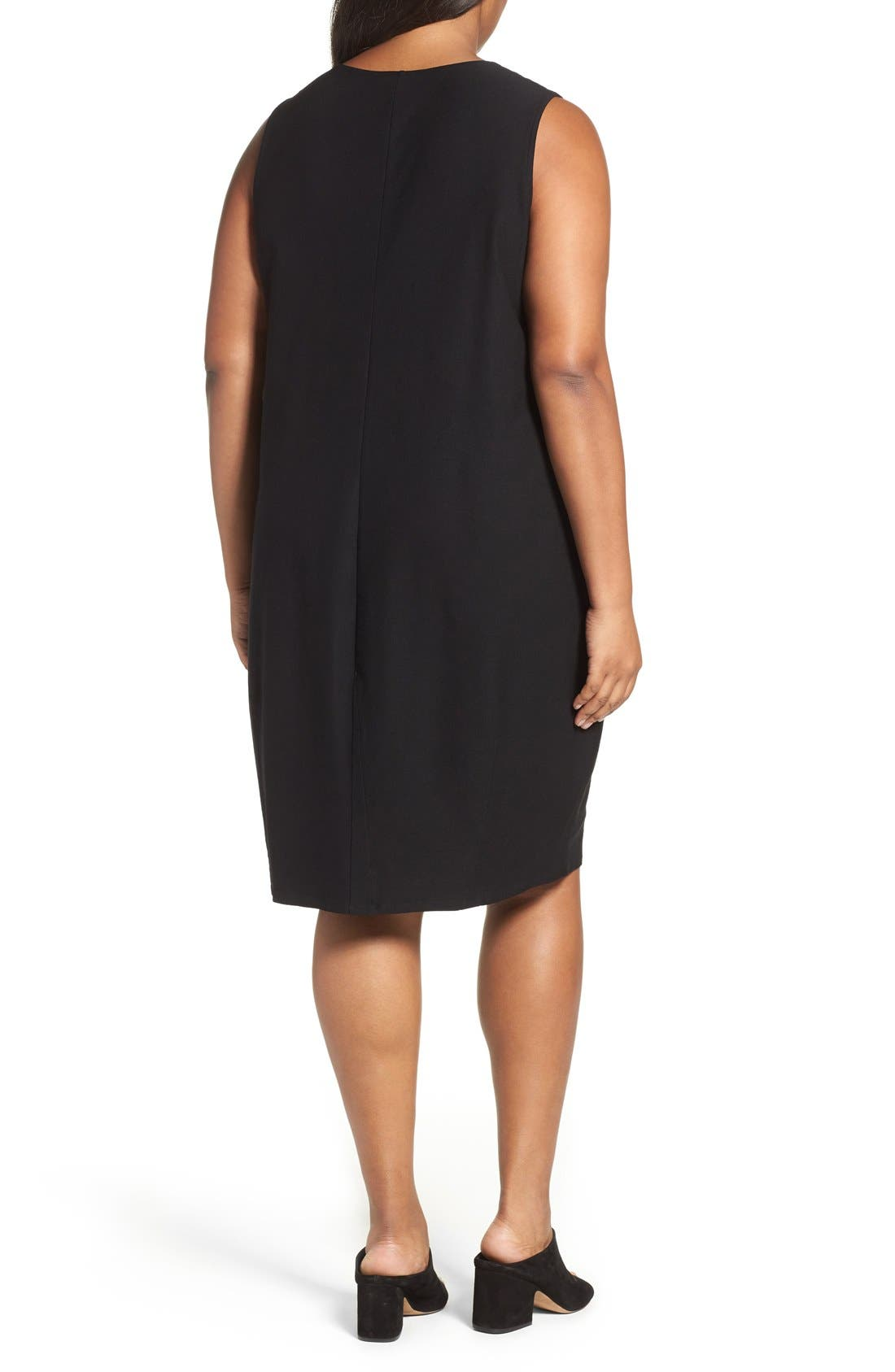 Alternate Image 2  - Eileen Fisher Washable Stretch Crepe Shift Dress (Plus Size)