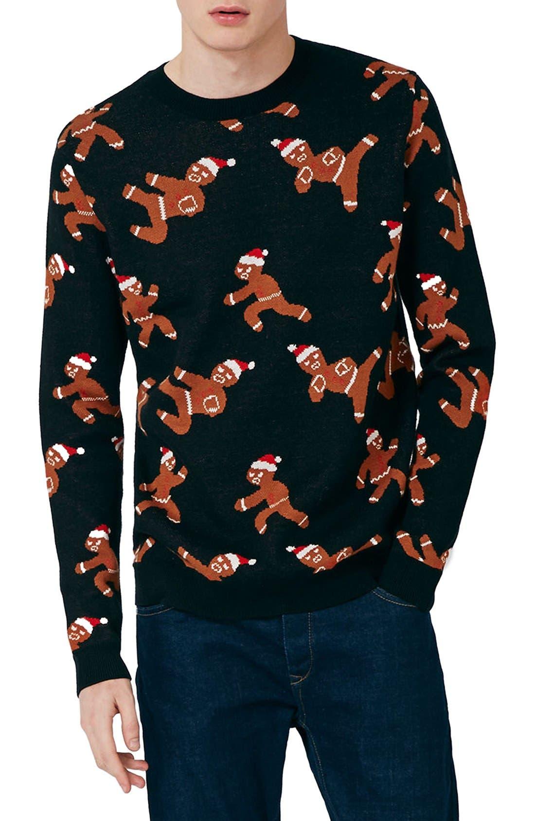 Alternate Image 1 Selected - Topman Ninja Gingerbread Men Sweater