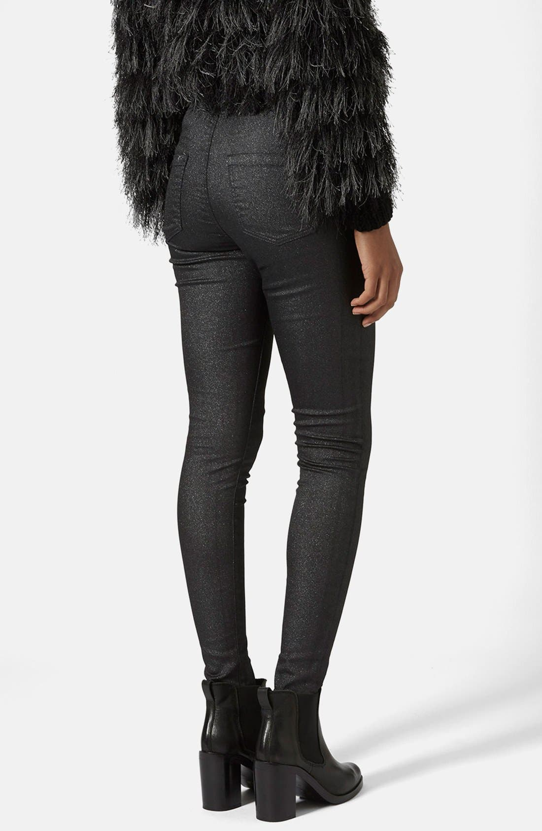 Alternate Image 2  - Topshop Moto 'Joni' Glitter Skinny Jeans (Black) (Regular, Short & Long)