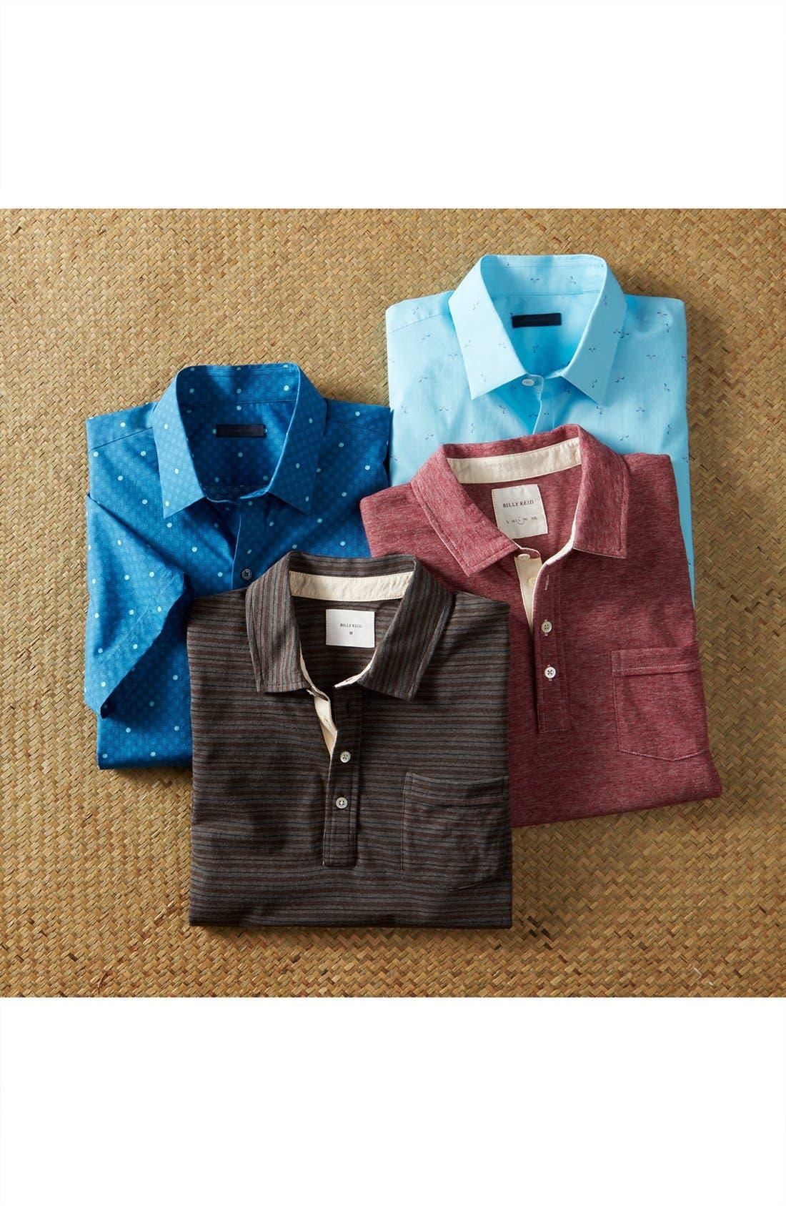 Alternate Image 6  - Billy Reid 'Pensacola' Mini Stripe Slim Fit Jersey Polo