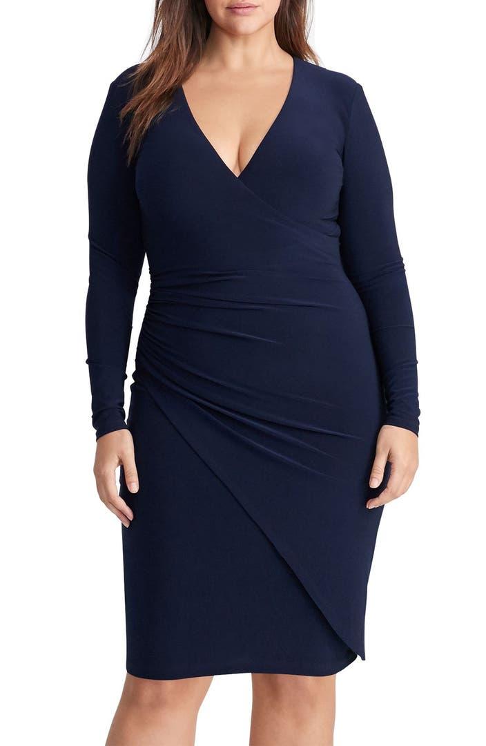 Lauren Ralph Lauren Ruched Jersey Faux Wrap Dress Plus