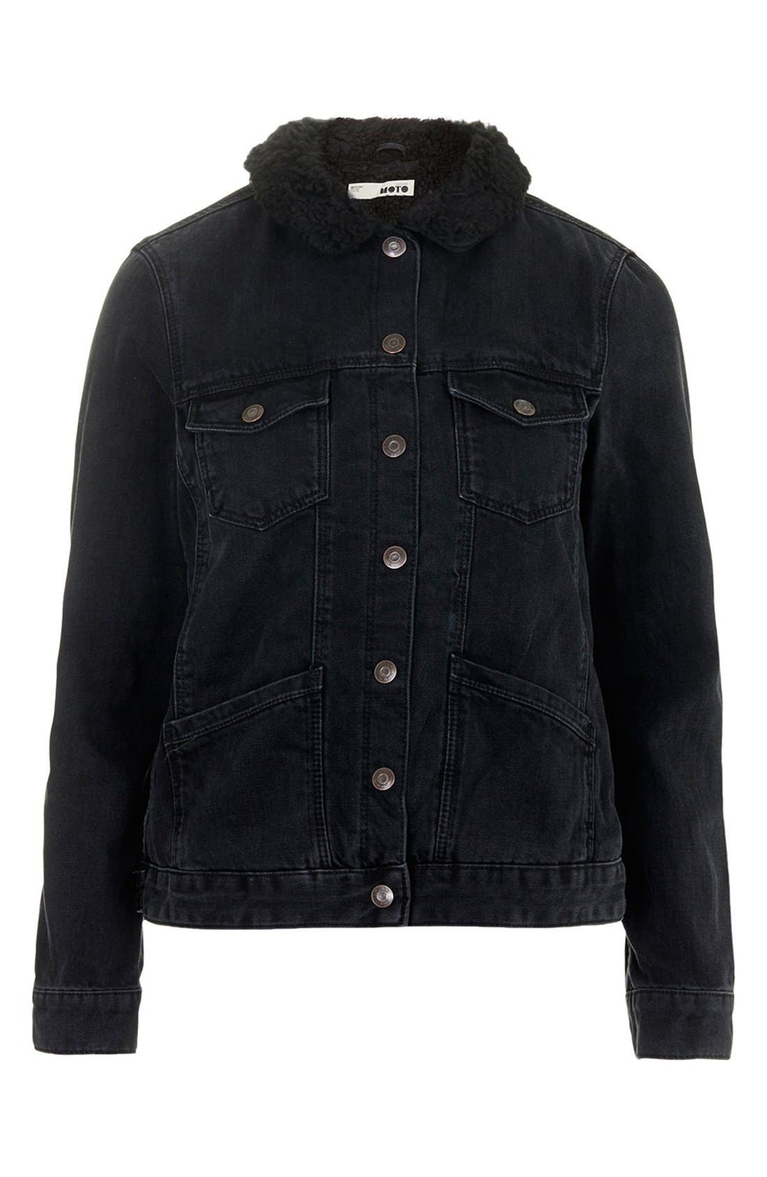 Alternate Image 3  - Topshop Denim Jacket with Faux Shearling Collar