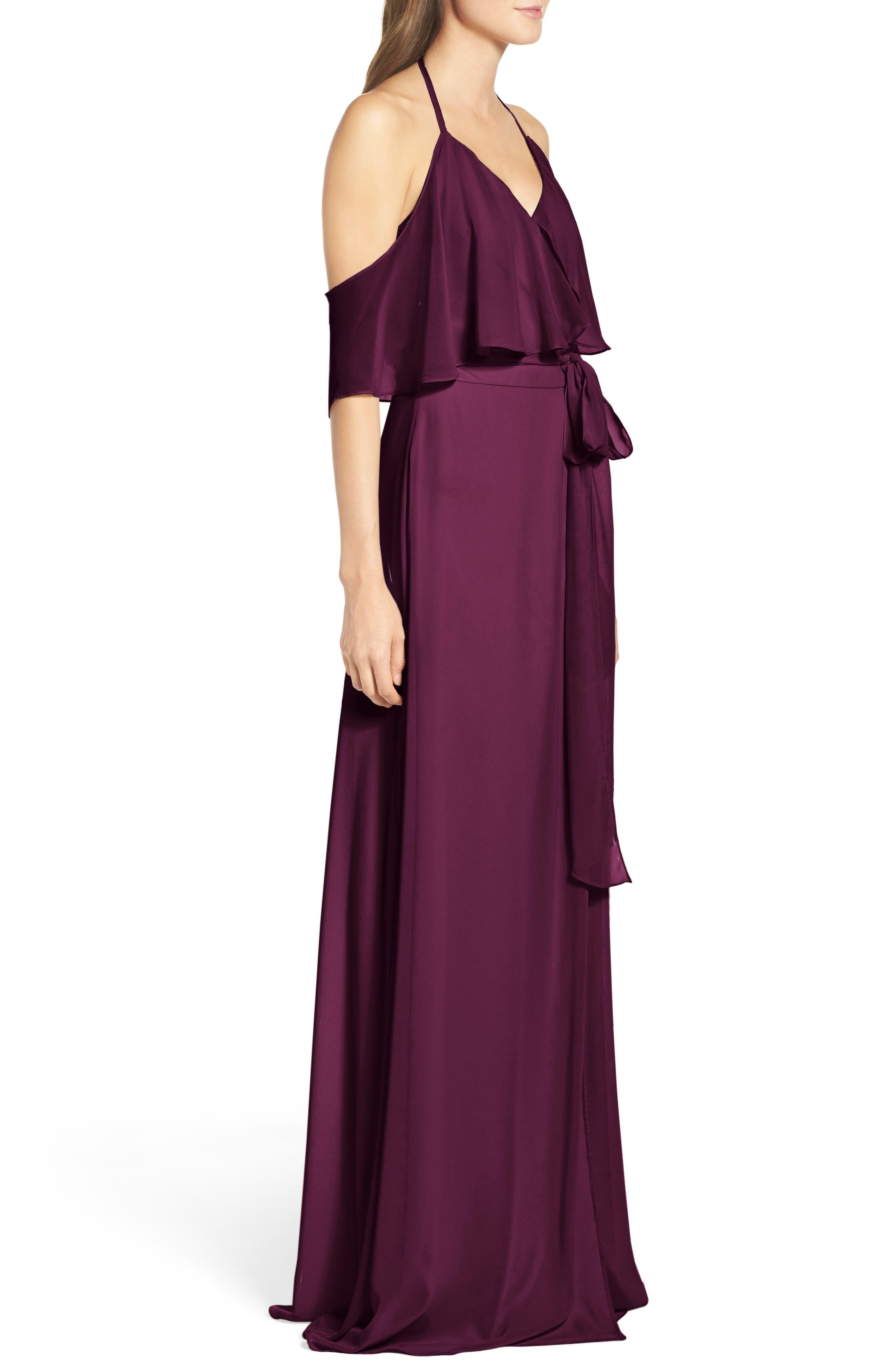 Alternate Image 4  - Ceremony by Joanna August Cold Shoulder Tie Waist Halter Gown