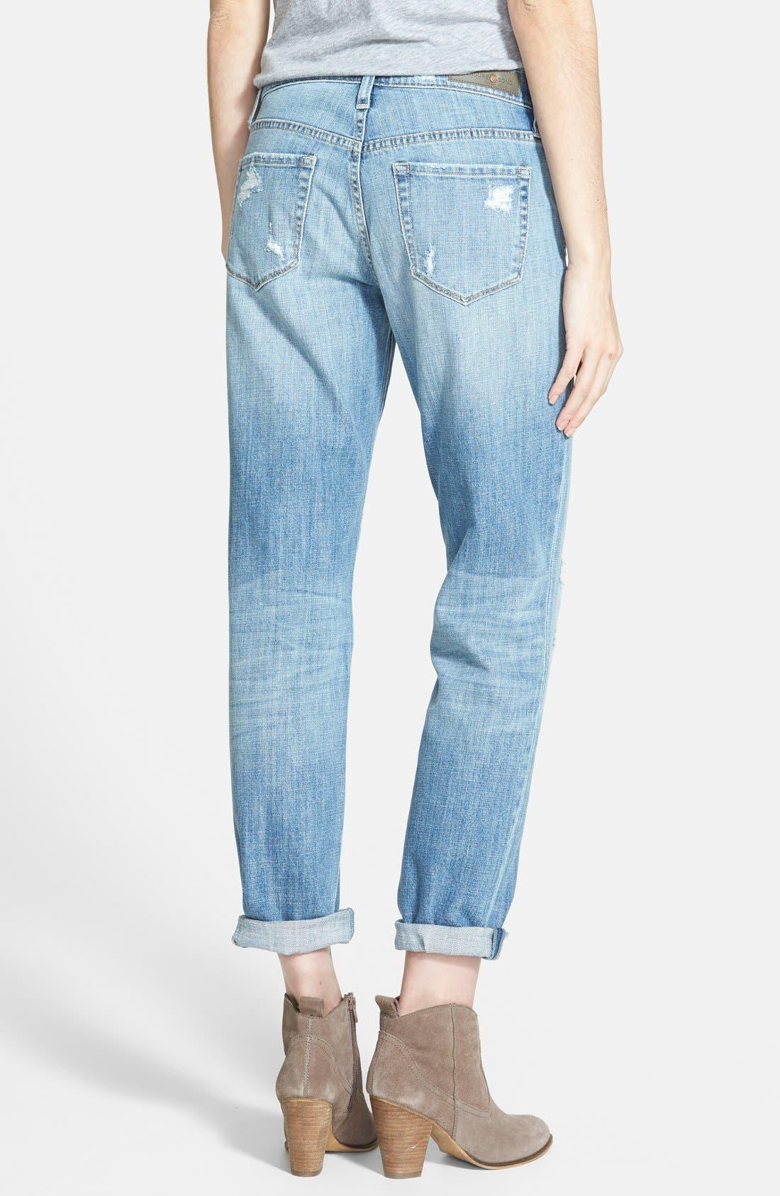 Alternate Image 2  - Treasure&Bond Destructed Boyfriend Jeans (Blue Jay Light Rip & Repair)
