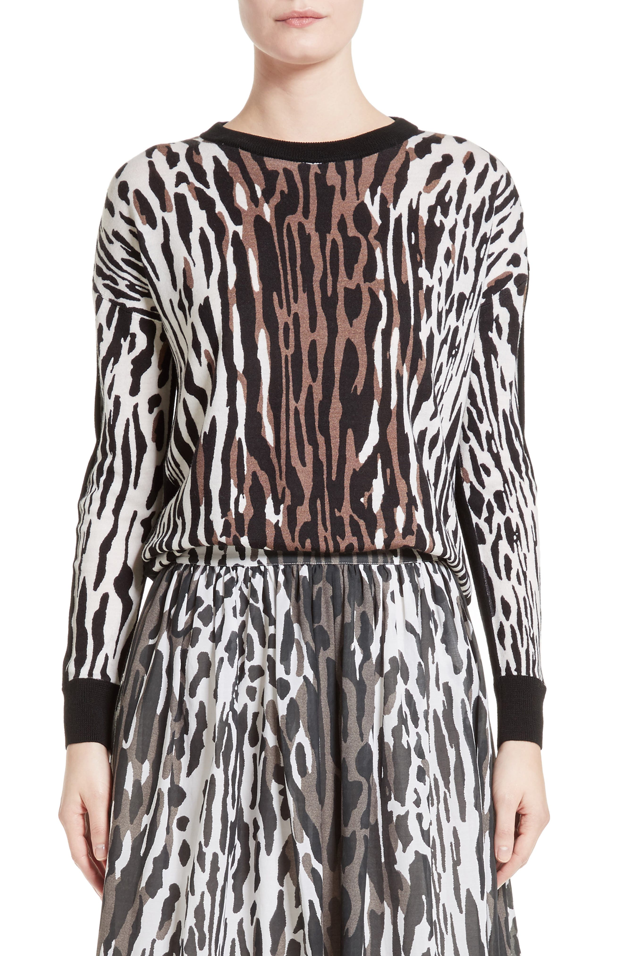 ST. JOHN COLLECTION Animal Print Wool Pullover