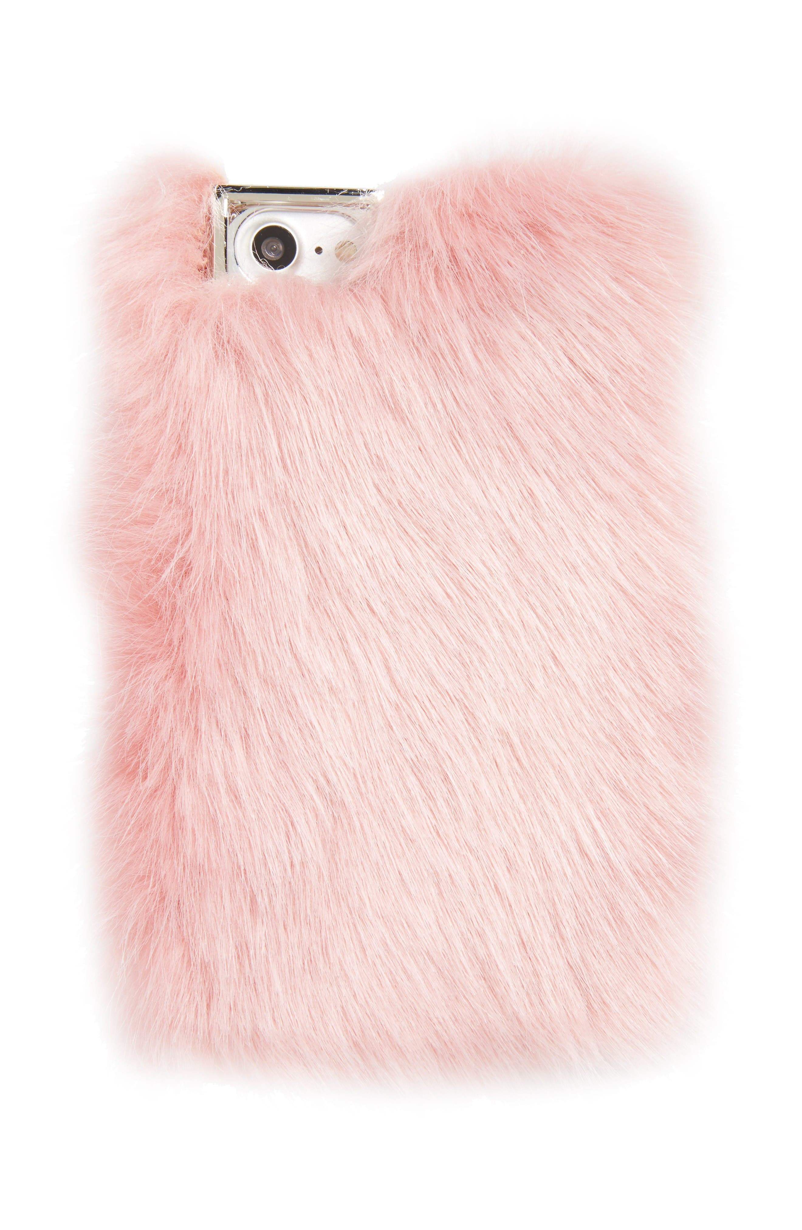 Alternate Image 1 Selected - Skinnydip Candy Faux Fur iPhone 7 Case