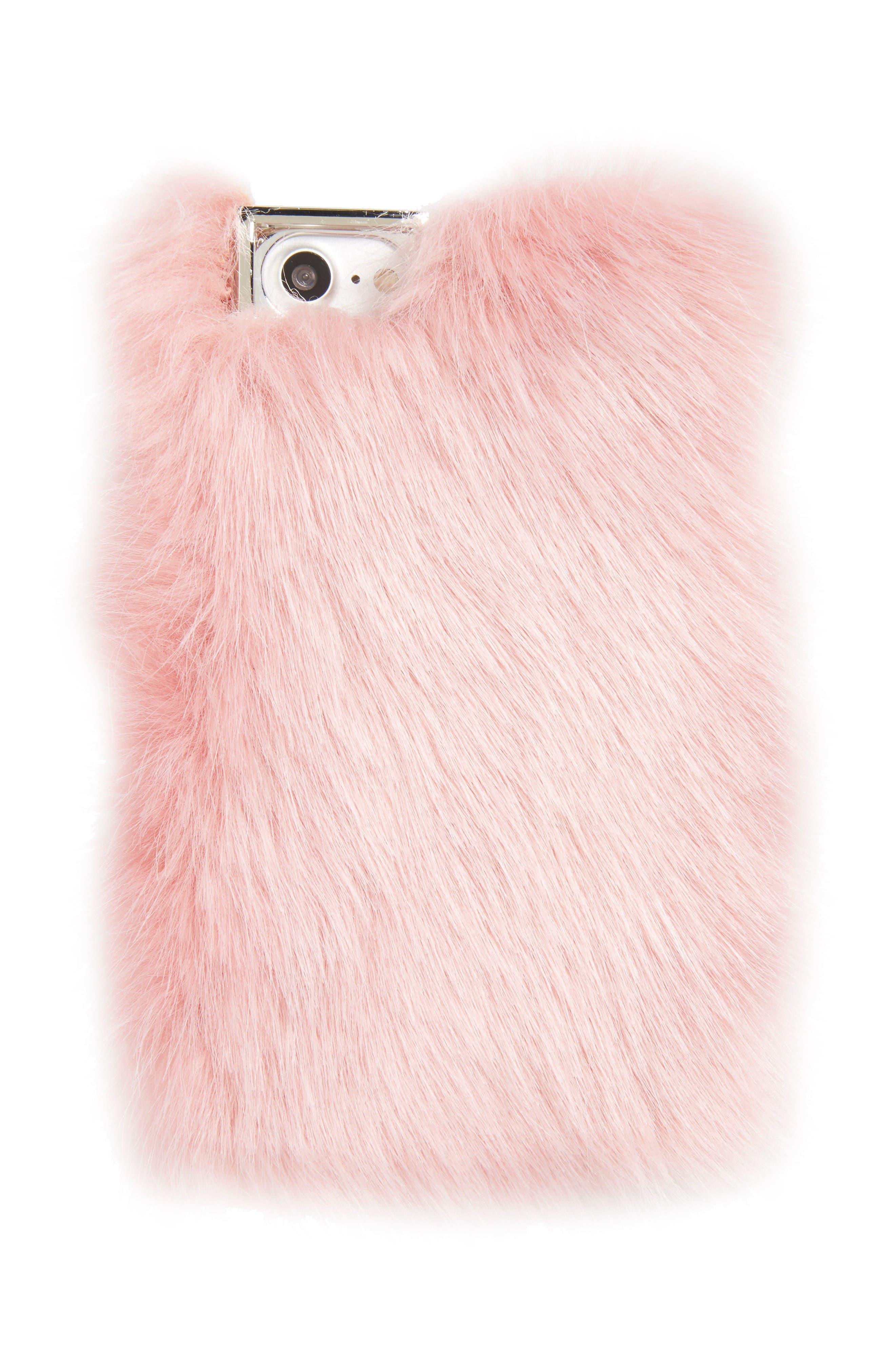 Main Image - Skinnydip Candy Faux Fur iPhone 7 Case