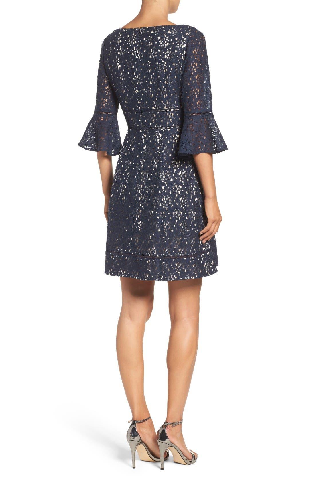 Alternate Image 2  - Eliza J Lace Fit & Flare Dress (Regular & Petite)