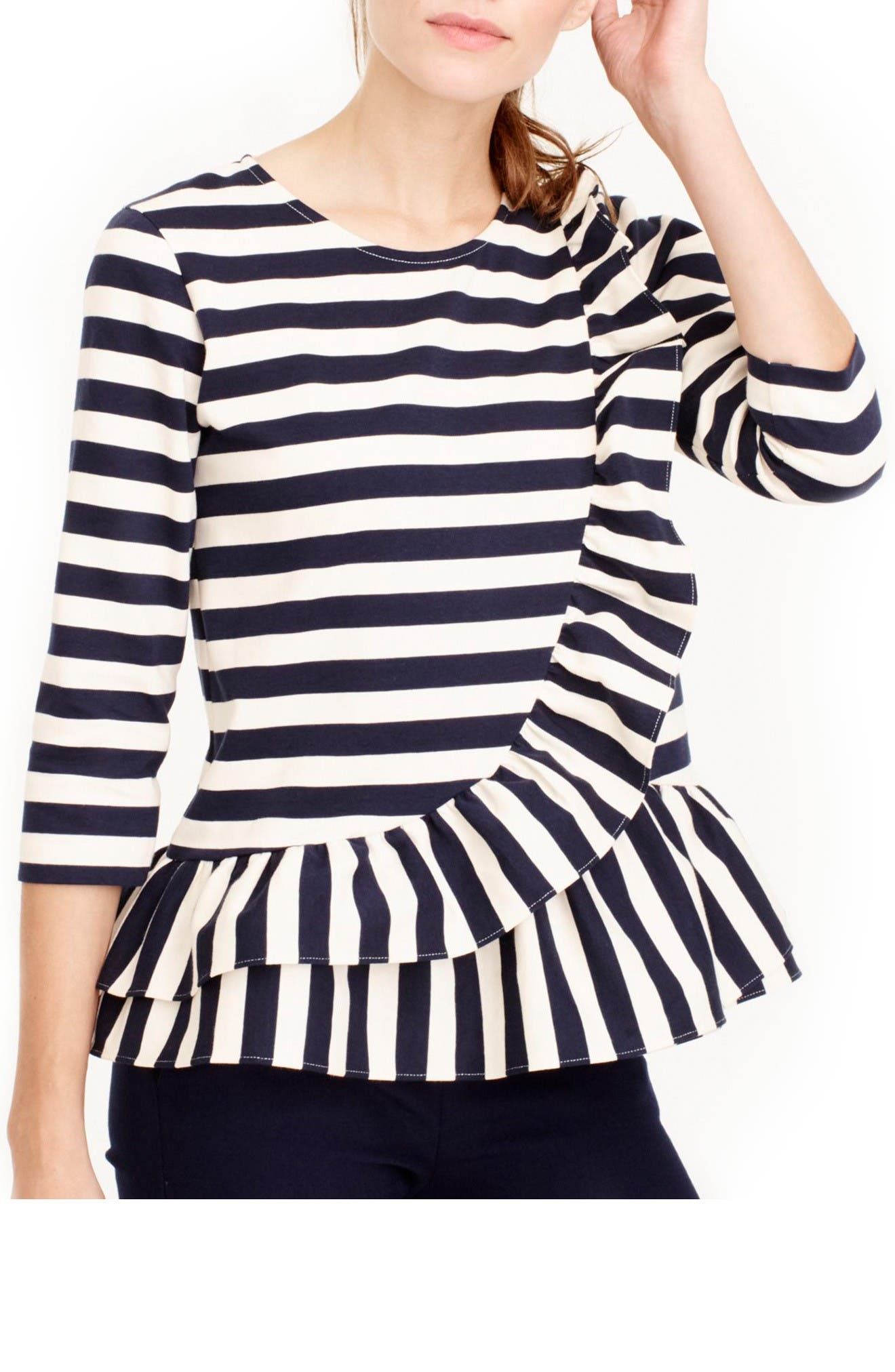 Main Image - J.Crew Asymmetrical Stripe Ruffle Top
