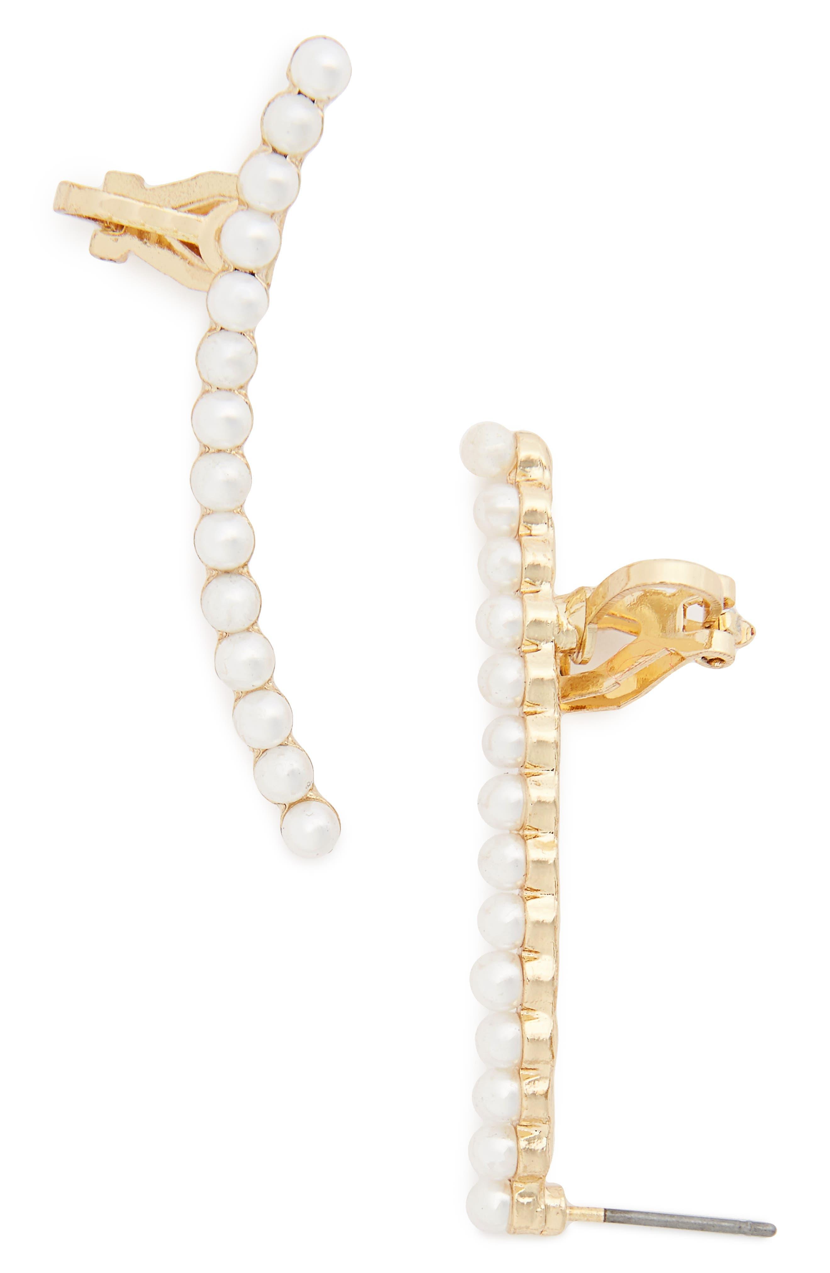 Main Image - Topshop Faux Pearl Ear Cuffs