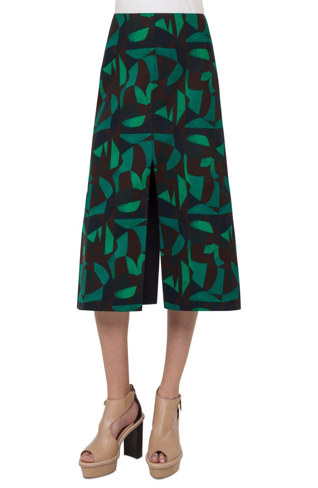 AKRIS Print A-Line Skirt