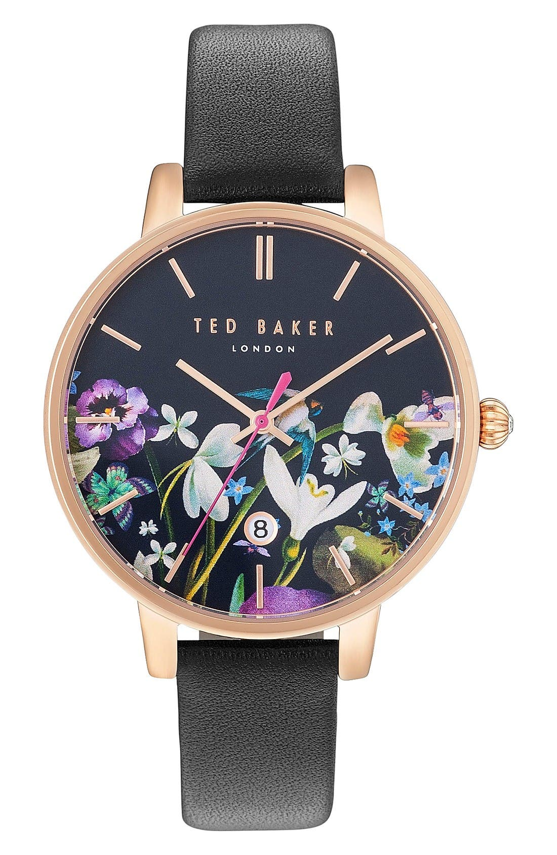 Main Image - Ted Baker London Kate Round Leather Strap Watch, 38mm