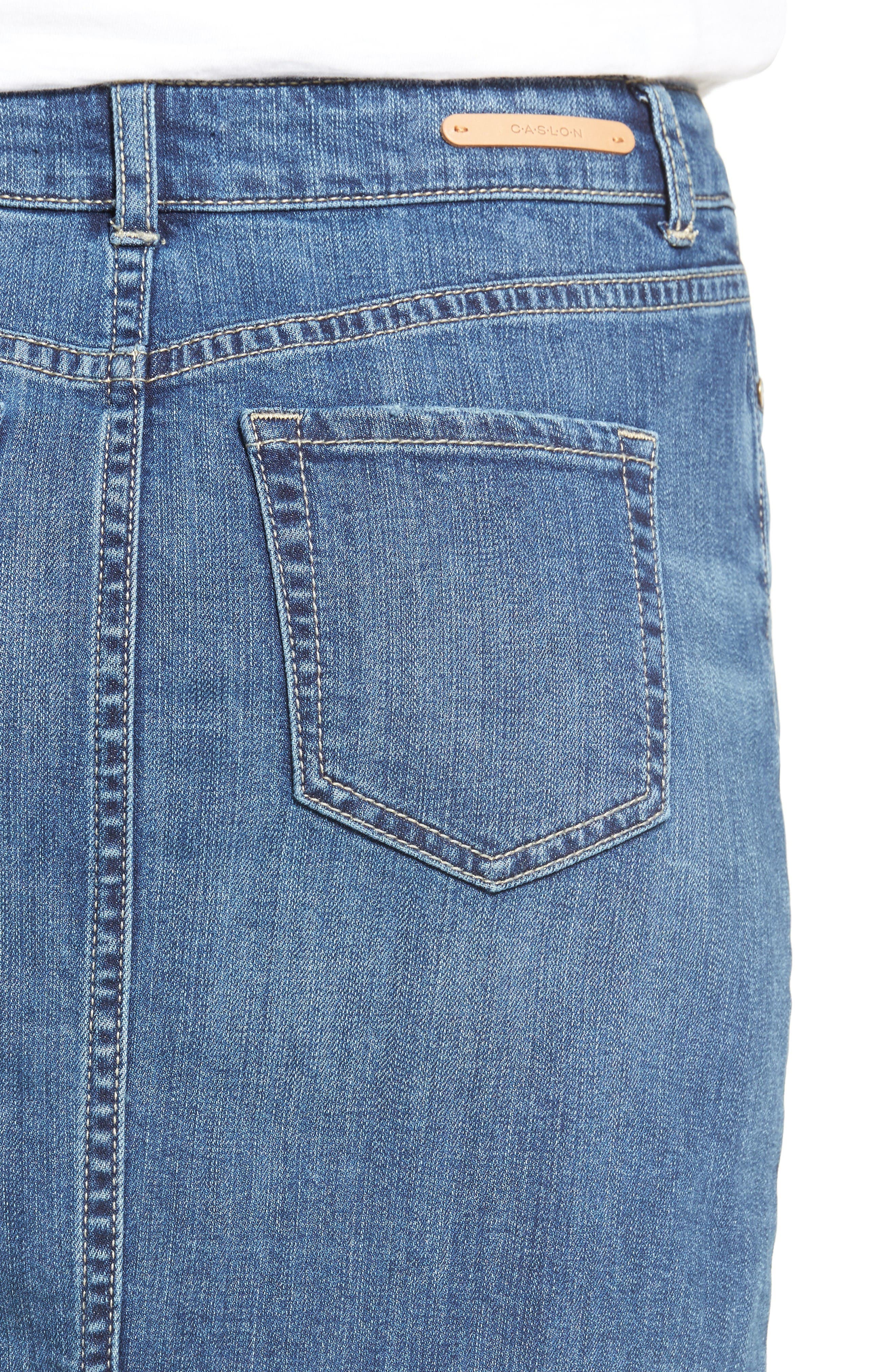 Alternate Image 4  - Caslon® Release Hem Denim Pencil Skirt