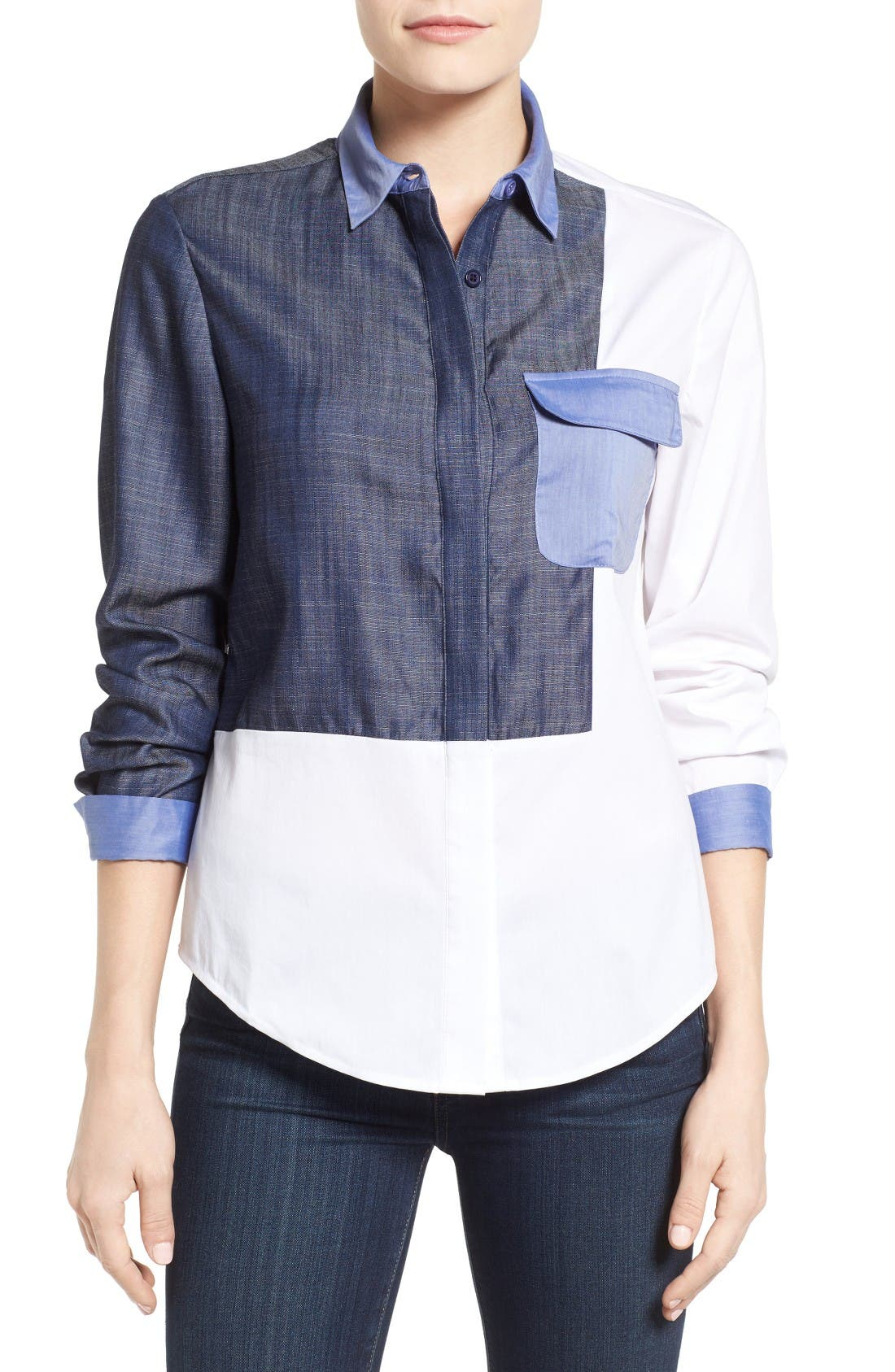 Main Image - Ivanka Trump Denim & Poplin Colorblock Shirt