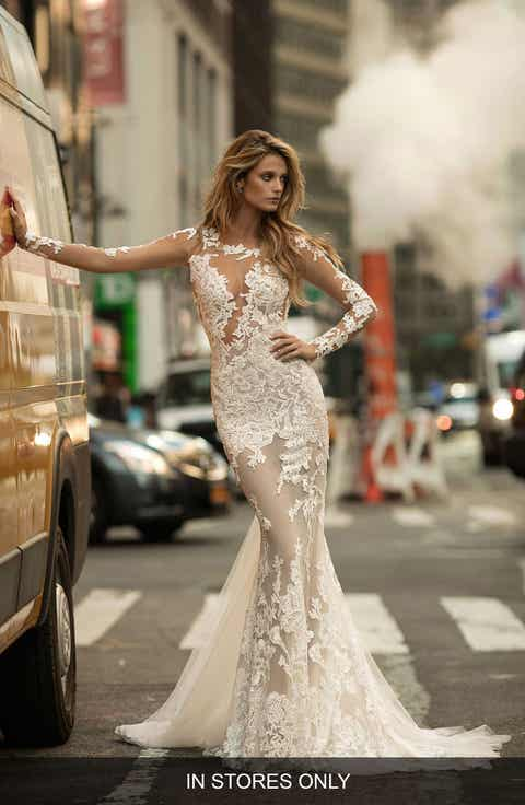 Berta Illusion Long Sleeve Mermaid Gown (In Stores Only)
