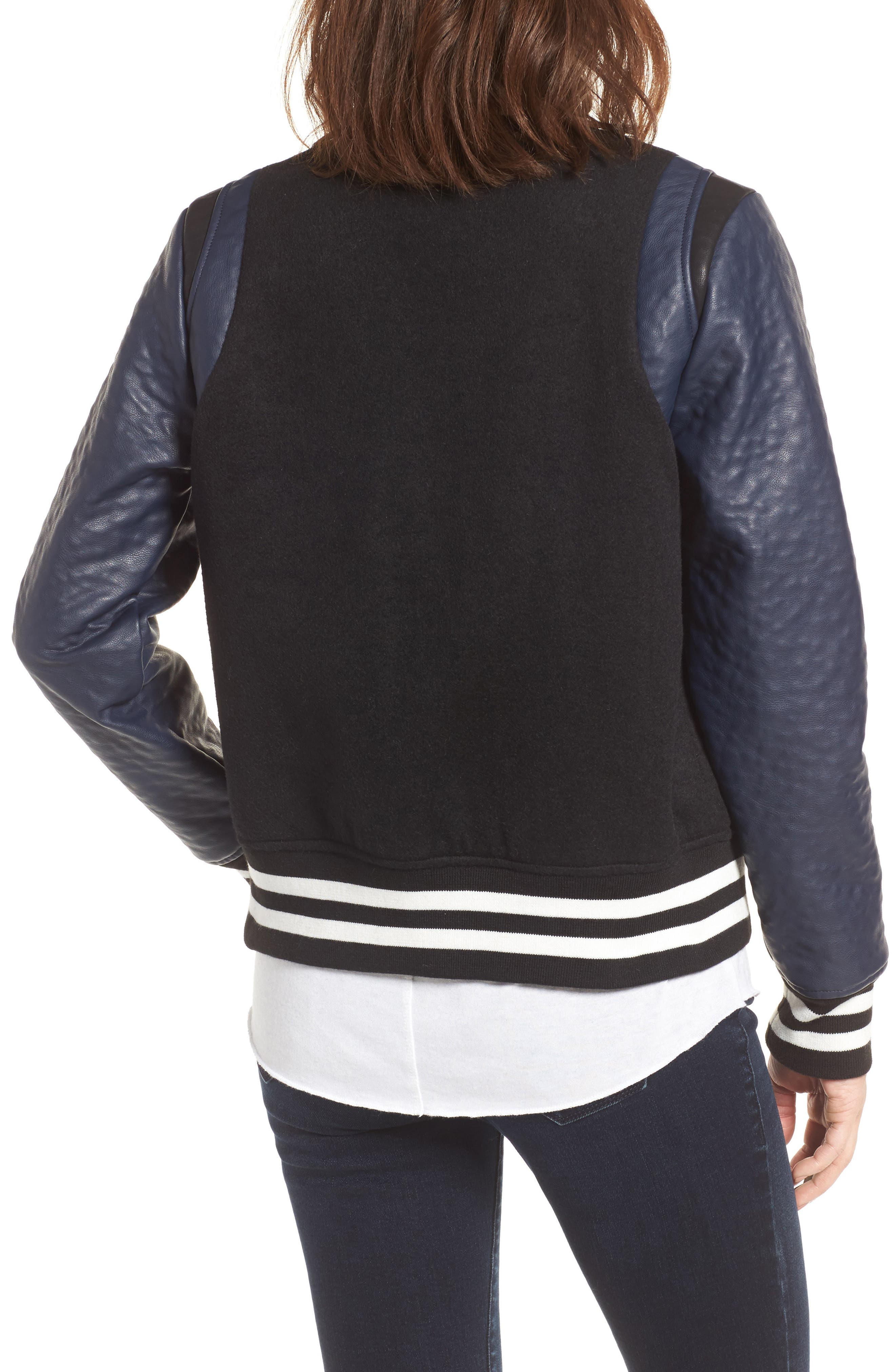 Alternate Image 2  - Vigoss Wool & Faux Leather Baseball Jacket