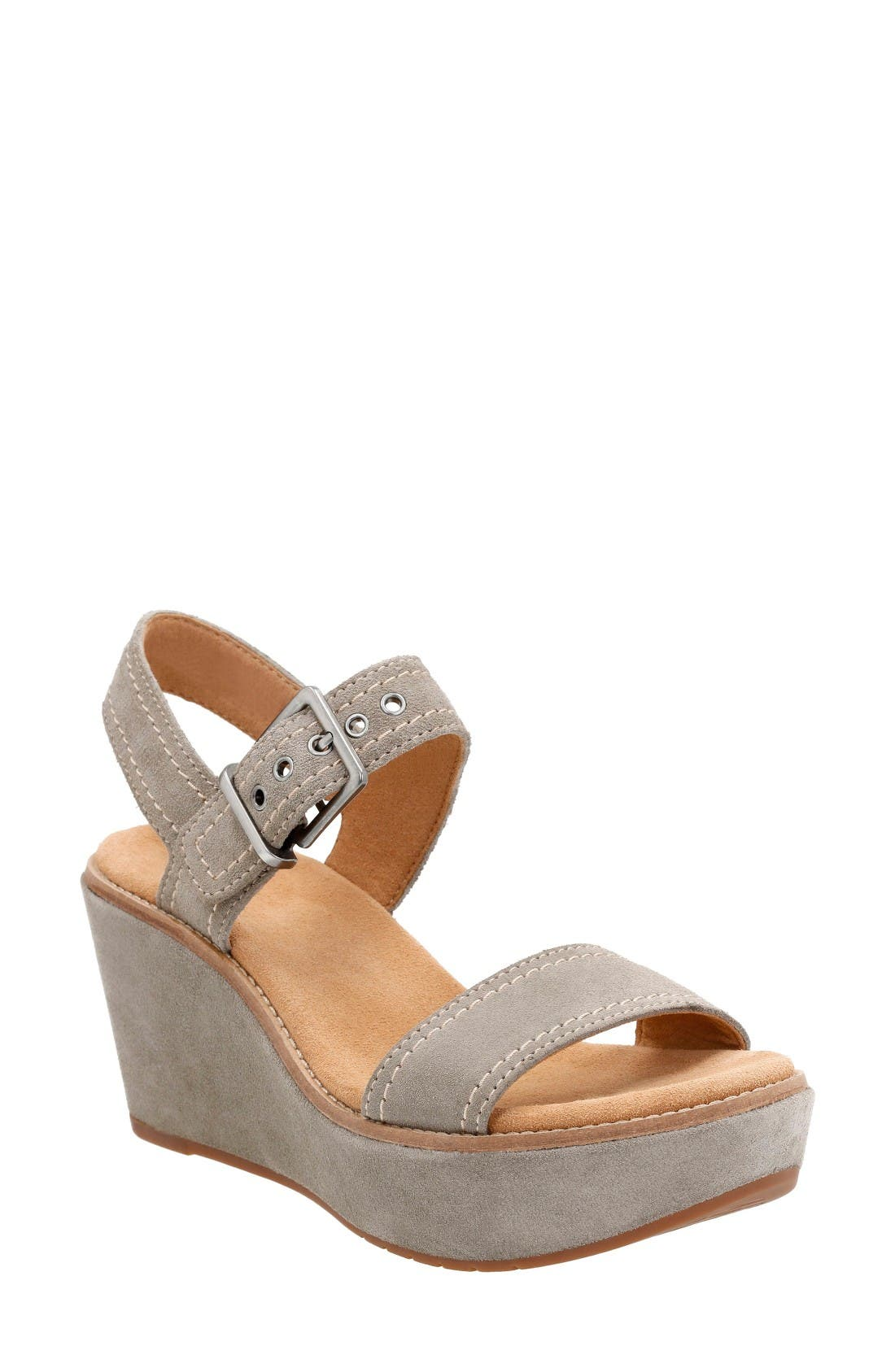 Alternate Image 1 Selected - Clarks® Aisley Orchid Wedge Sandal (Women)