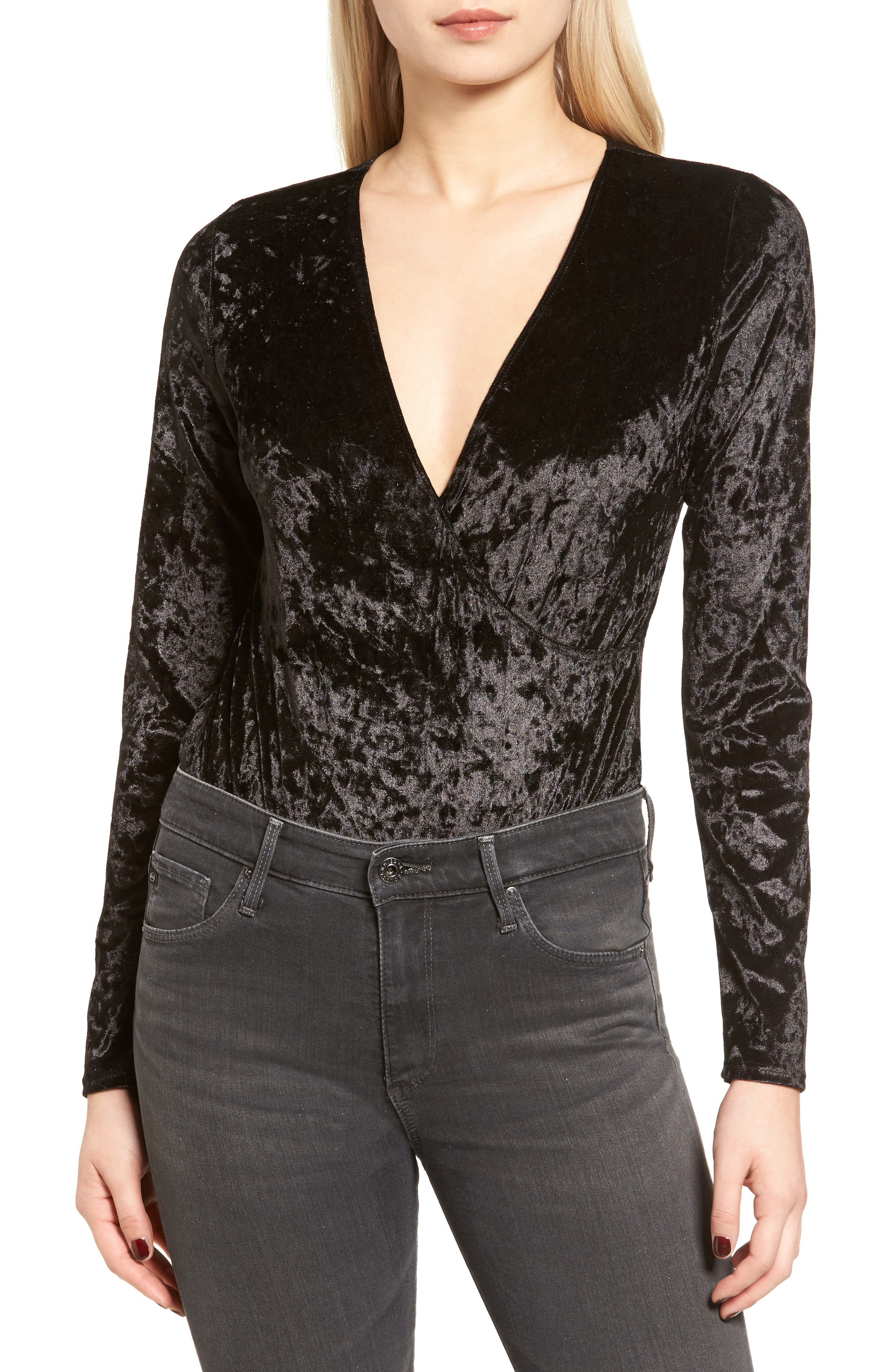 Alternate Image 4  - Trouvé Velvet Surplice Bodysuit
