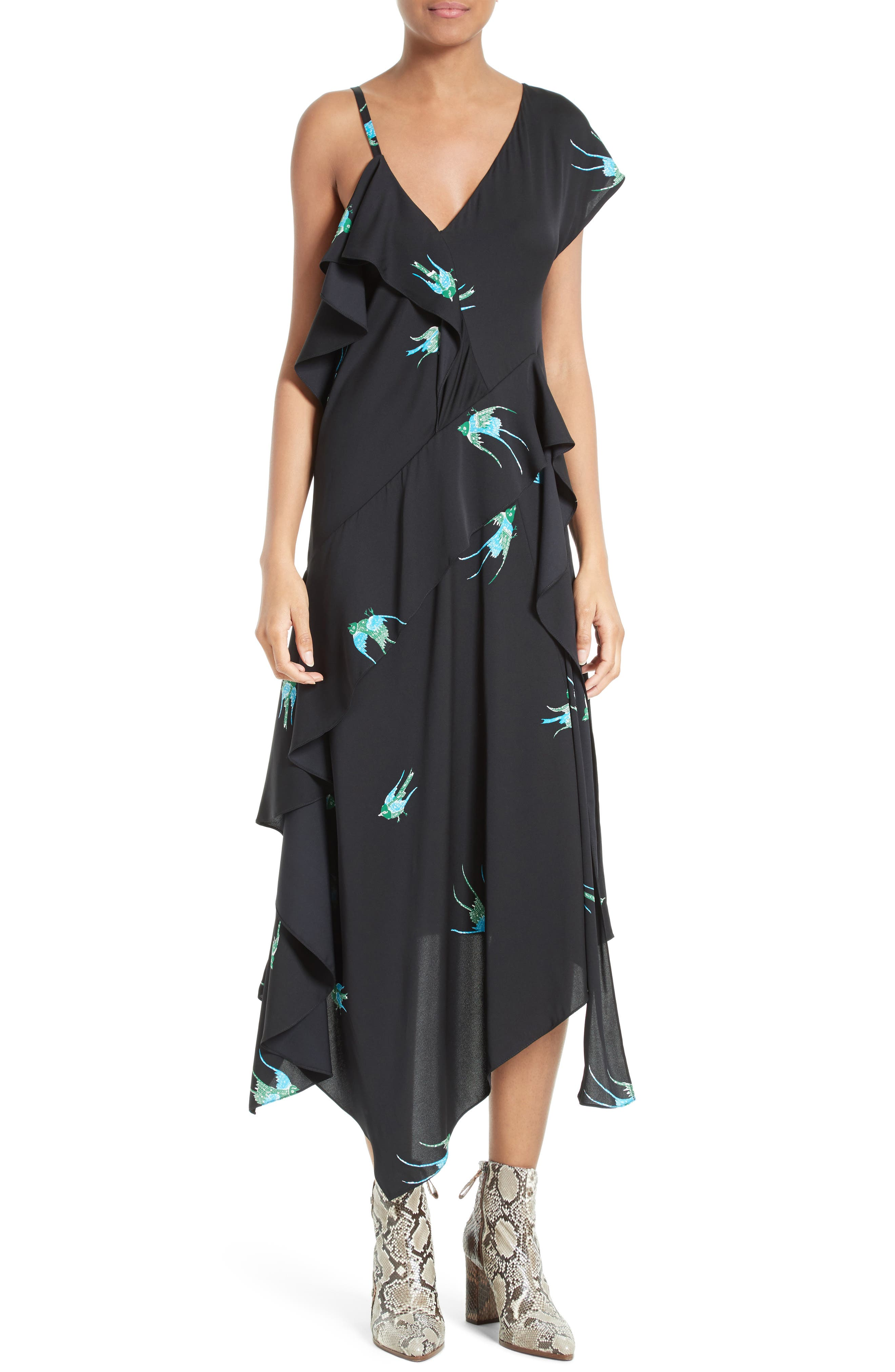 Main Image - Diane von Furstenberg Asymmetrical Ruffle Midi Dress