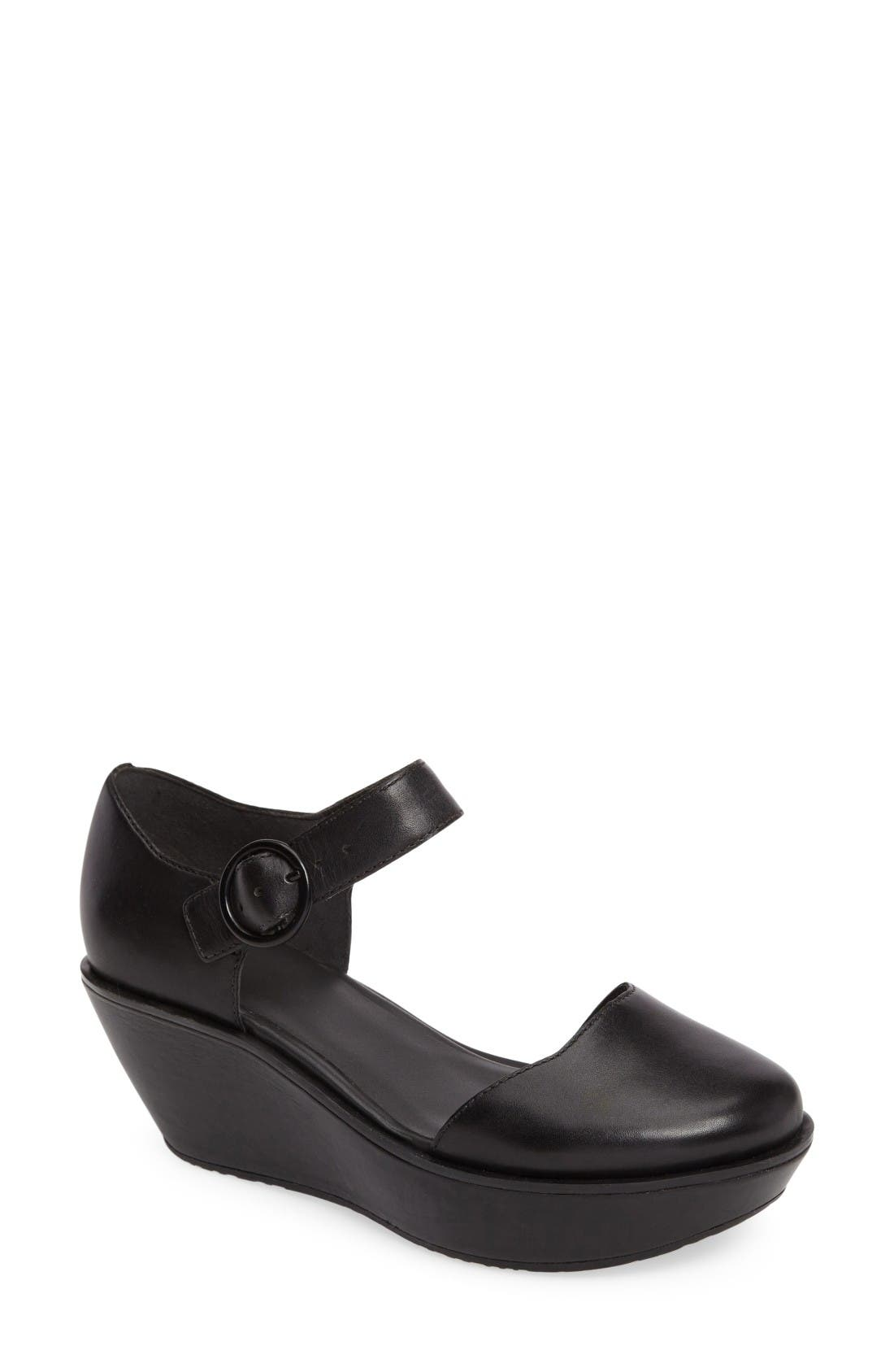 Camper 'Damas' Leather Ankle Strap Wedge Sandal (Women)