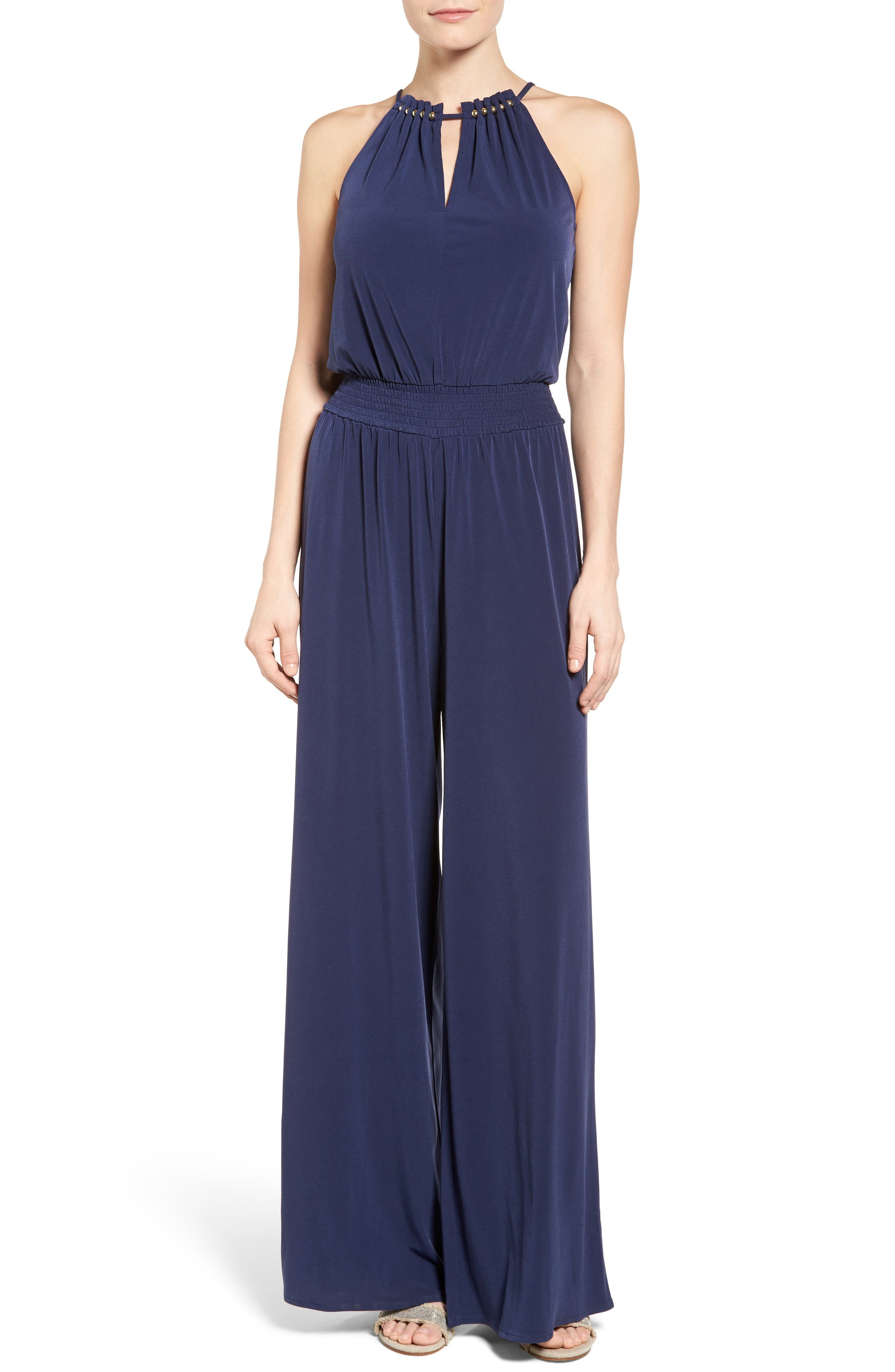Alternate Image 1 Selected - MICHAEL Michael Kors Embellished Smocked Waist Jumpsuit