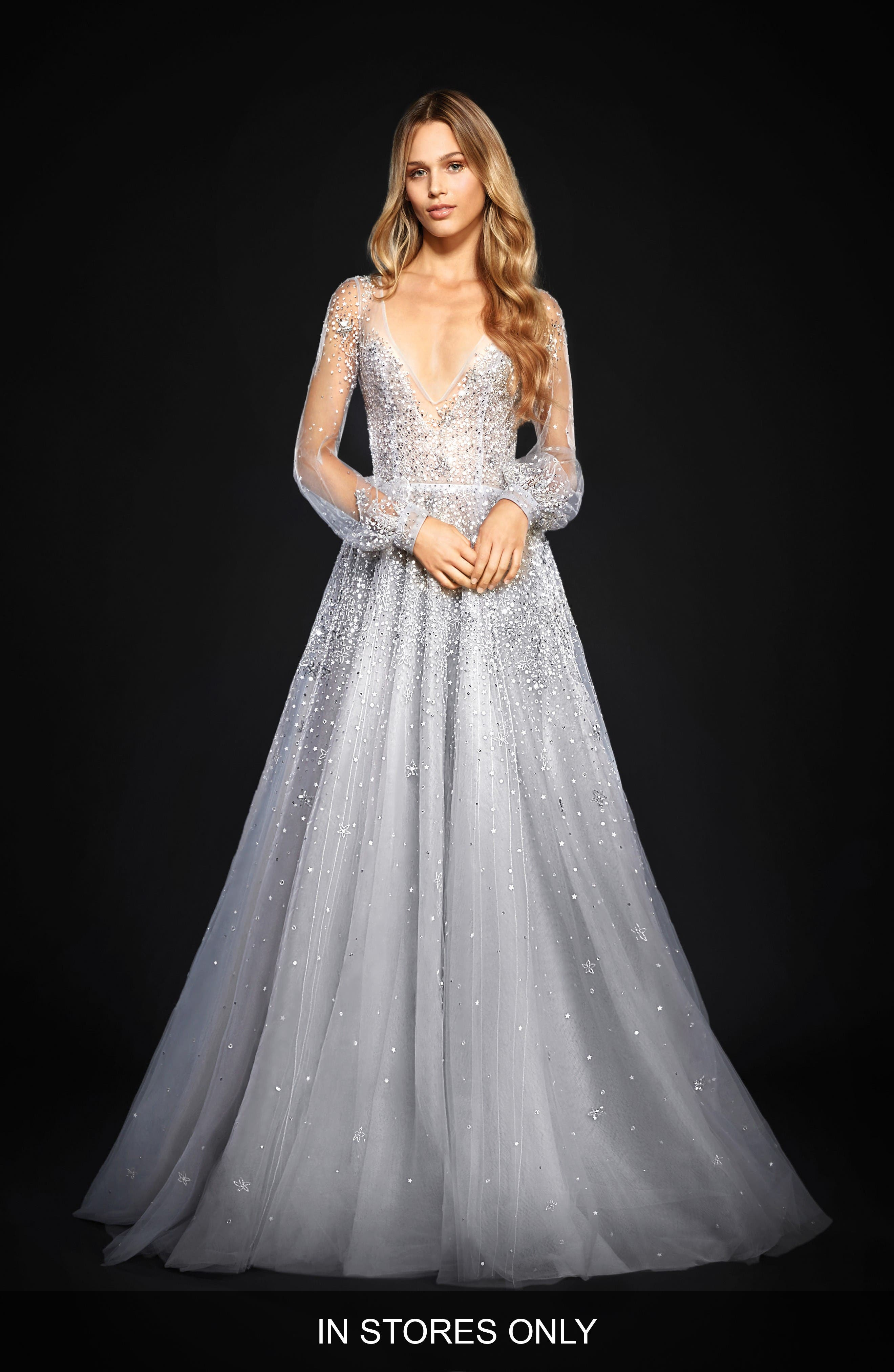 Hayley Paige Lumi Embellished Long Sleeve Tulle Ballgown (In Stores Only)