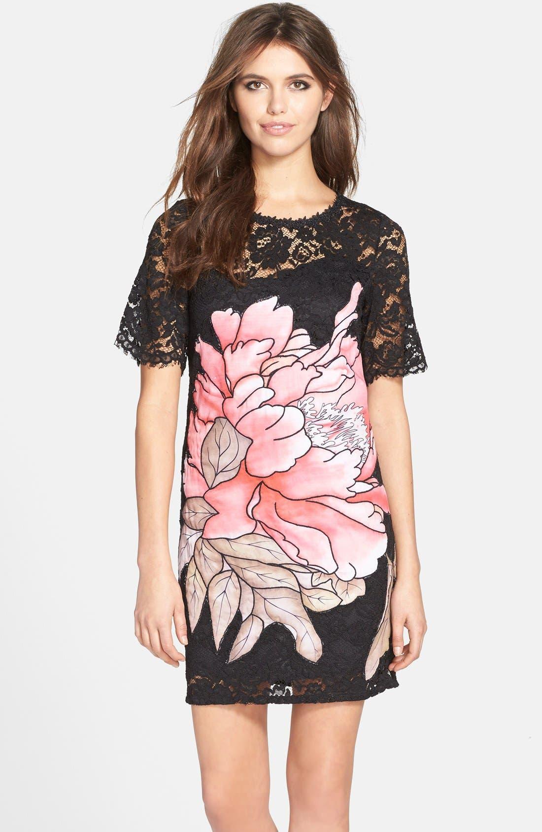 Alternate Image 1 Selected - Elliatt 'Instinct' Floral Appliqué Lace Shift Dress
