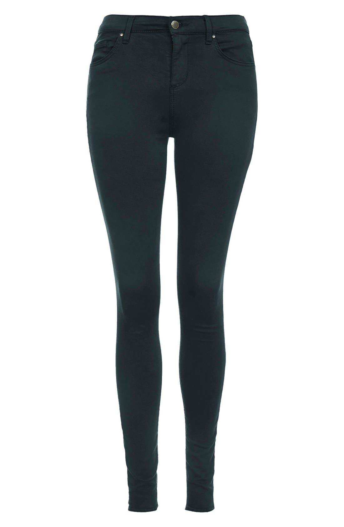 Alternate Image 3  - Topshop Moto 'Leigh' High Rise Skinny Jeans (Teal) (Regular & Short)