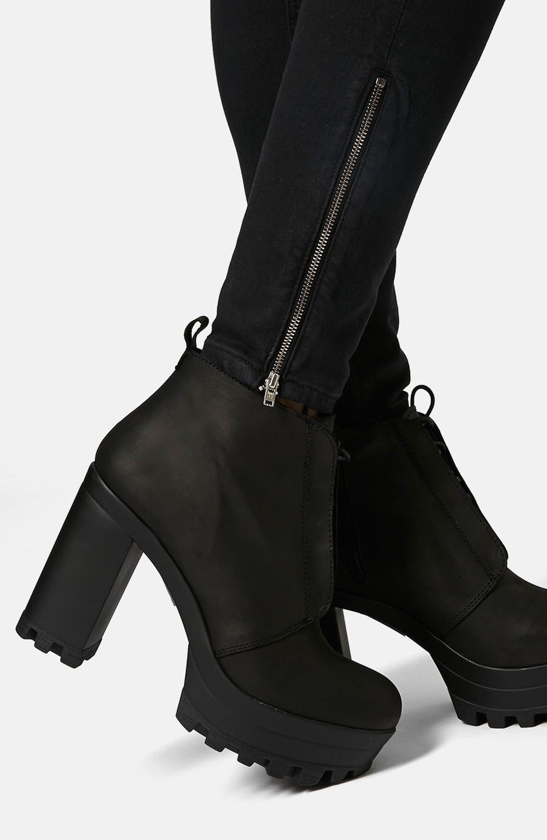 Alternate Image 3  - Topshop Moto 'Jamie' Ankle Zip Skinny Jeans (Black) (Regular & Short)