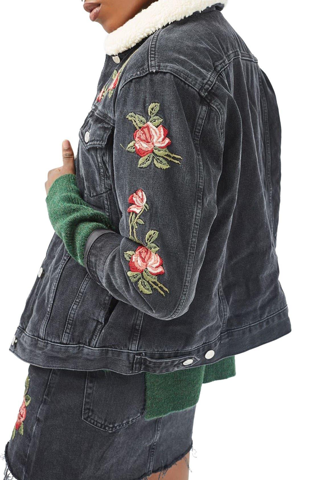 Alternate Image 4  - Topshop Embroidered Borg Denim Jacket