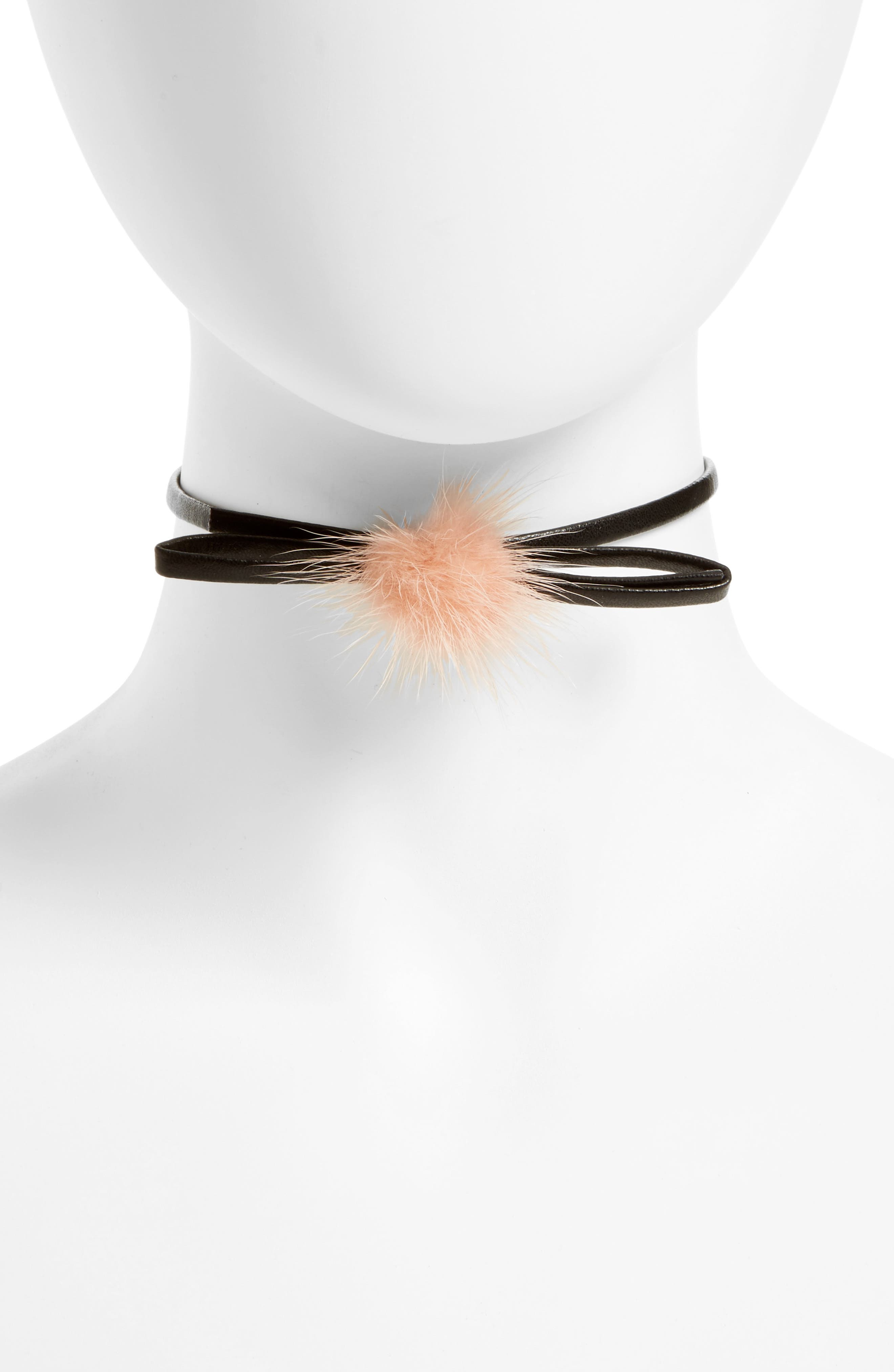 Main Image - Carole Bow Choker Necklace with Faux Fur Pompom