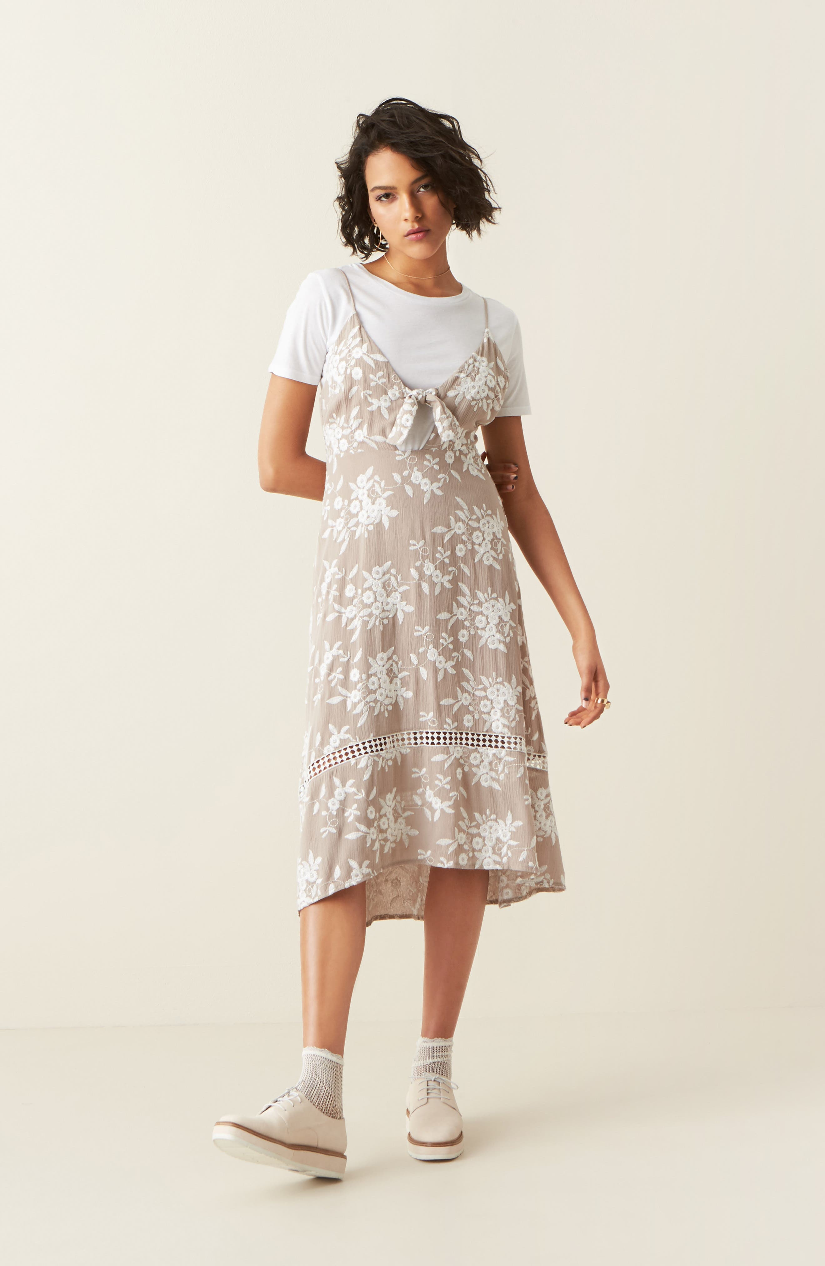 Alternate Image 2  - ASTR the Label Embroidered Tie Front Dress