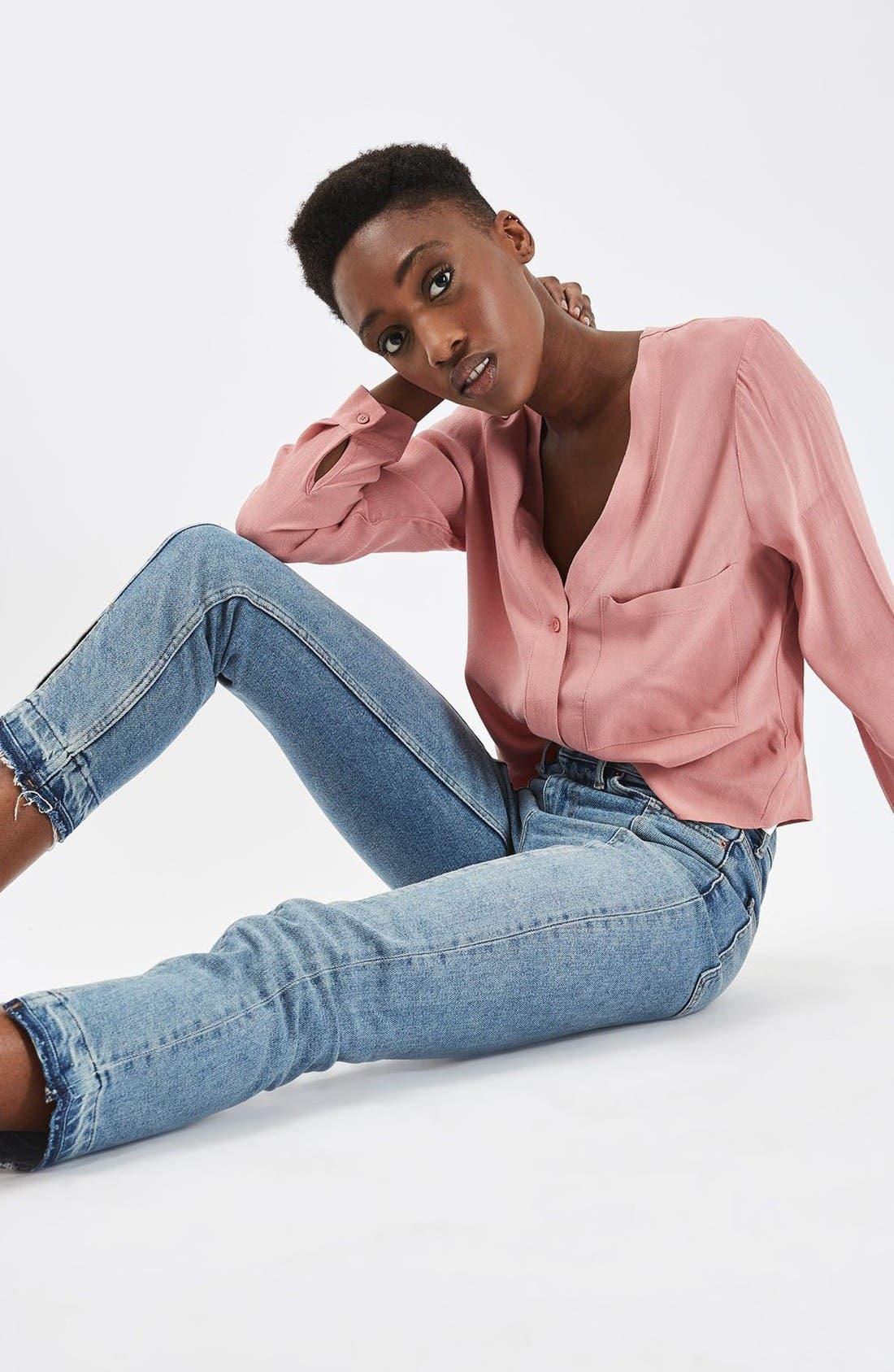 Alternate Image 2  - Topshop Split Hem Straight Leg Jeans