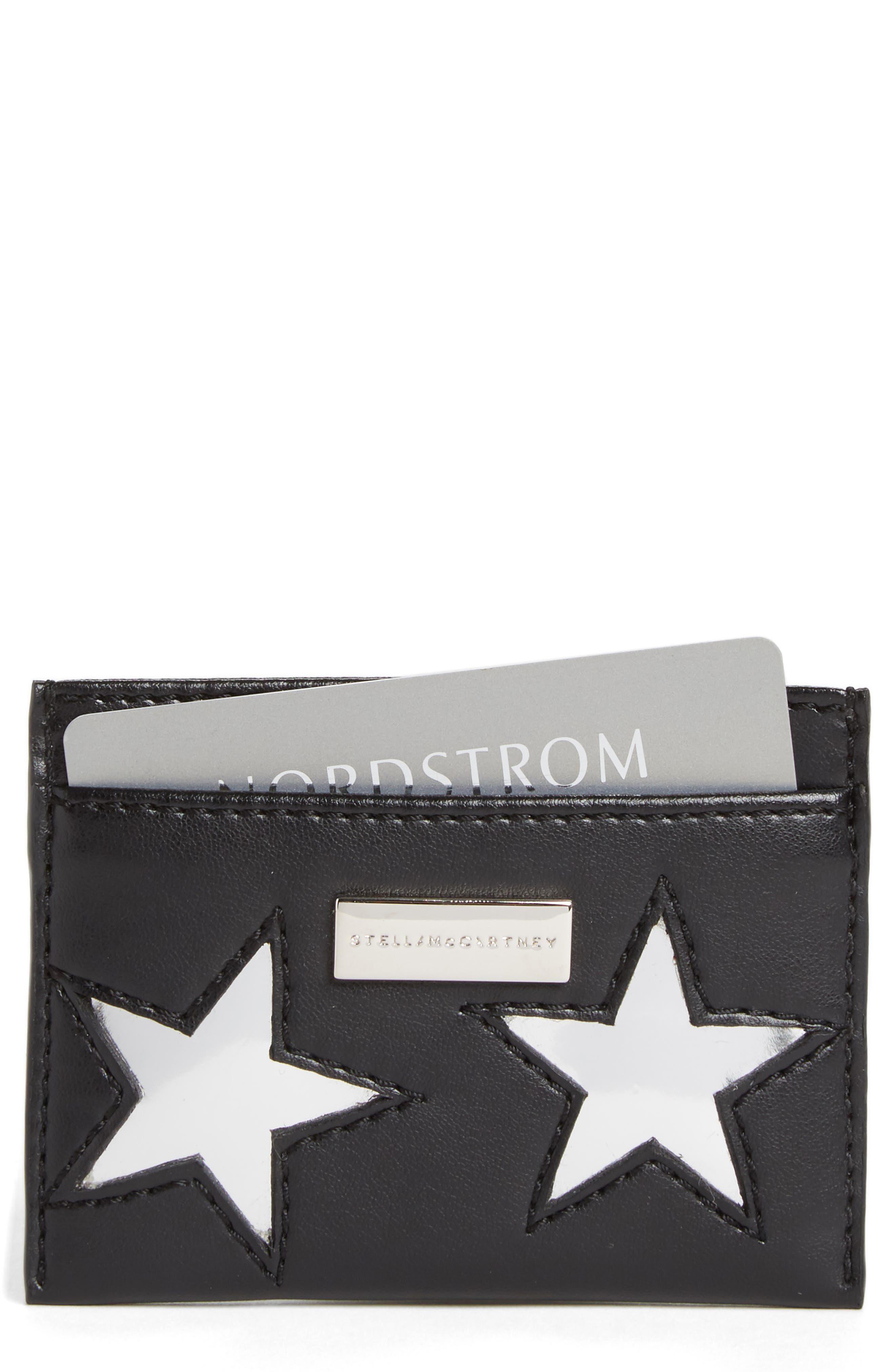 Stella McCartney Lamé Stars Faux Leather Card Case