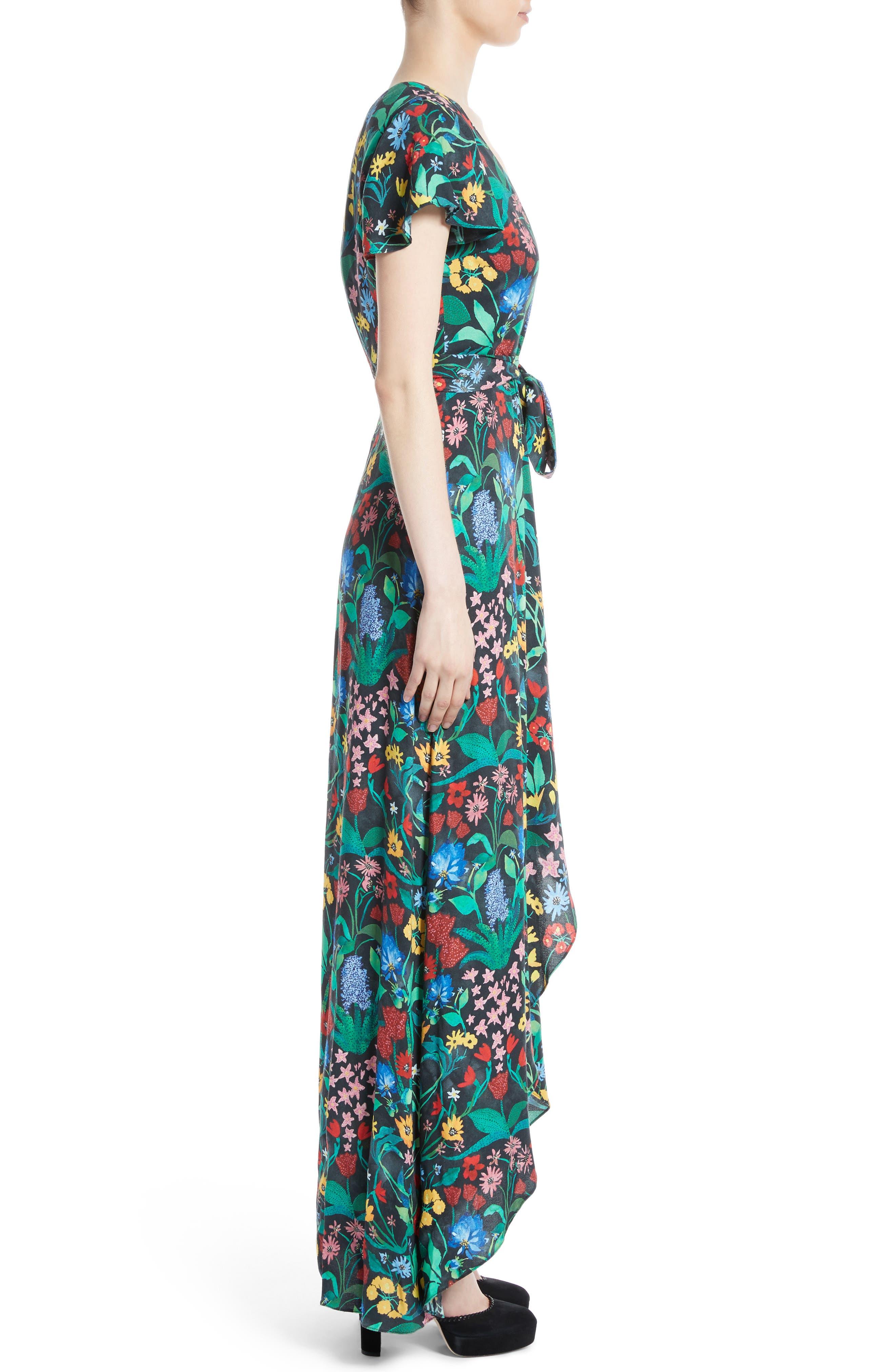 Alternate Image 3  - Alice + Olivia Adrianna Floral Faux Wrap Maxi Dress