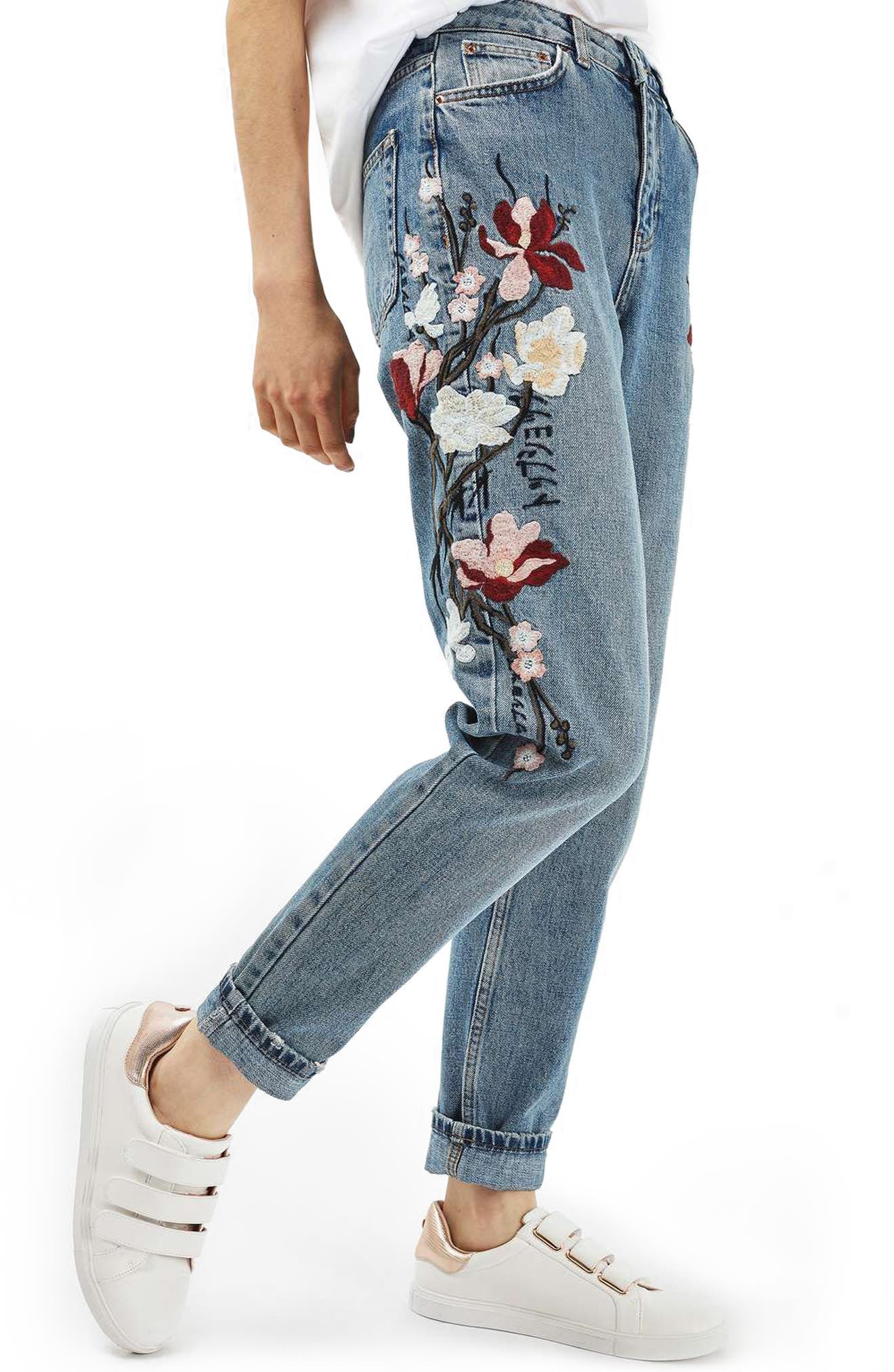 Main Image - Topshop Mom Embroidered Jeans