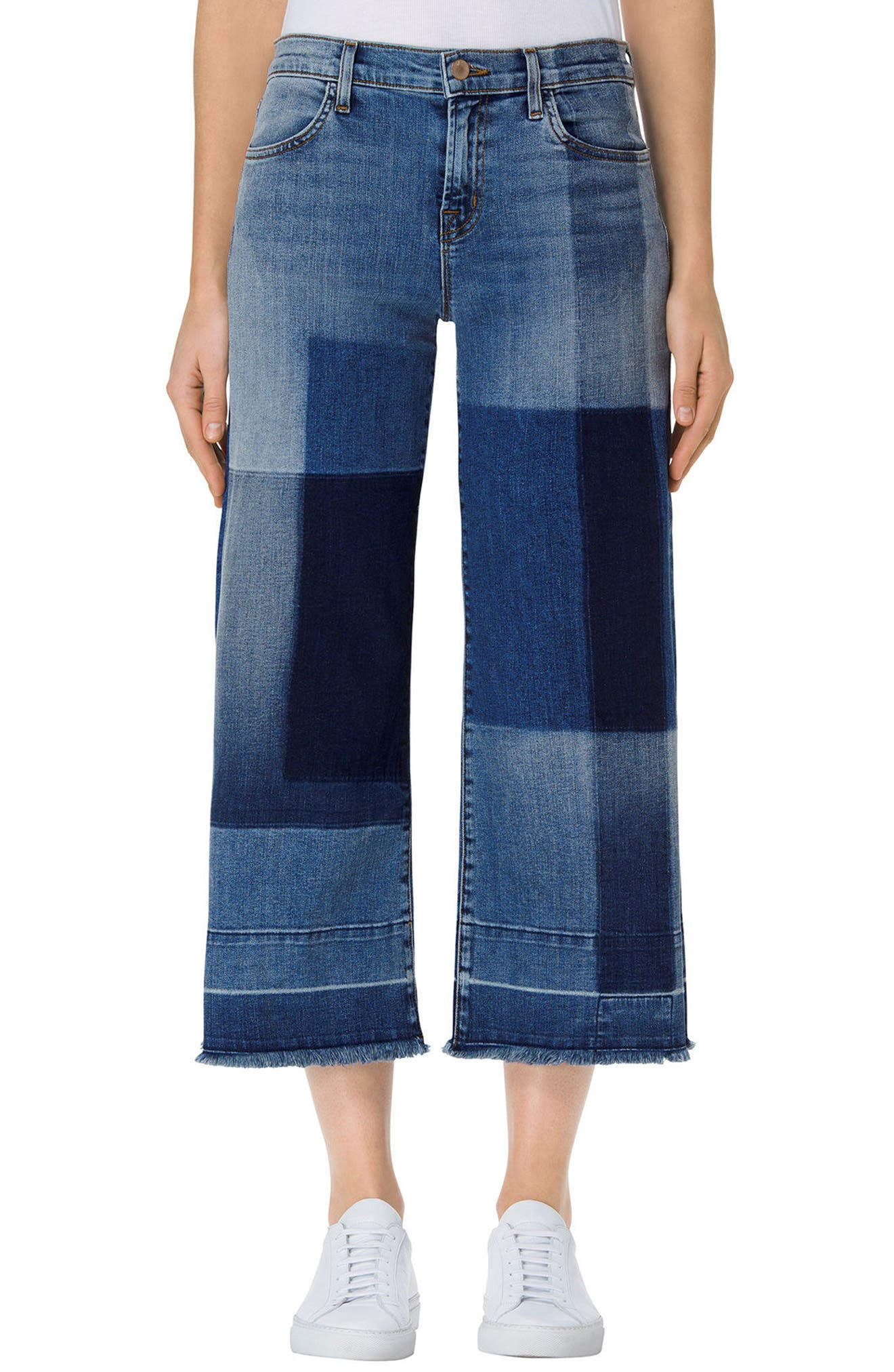 Alternate Image 1 Selected - J Brand Patchwork Culotte Jeans (Optimum)