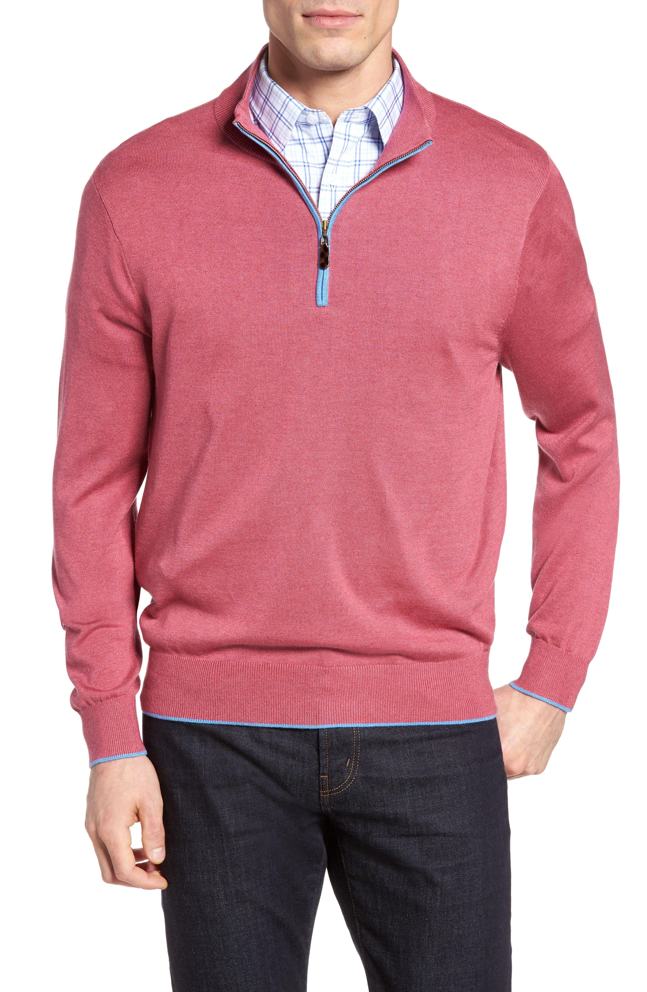 DAVID DONAHUE Silk Blend Quarter Zip Sweater