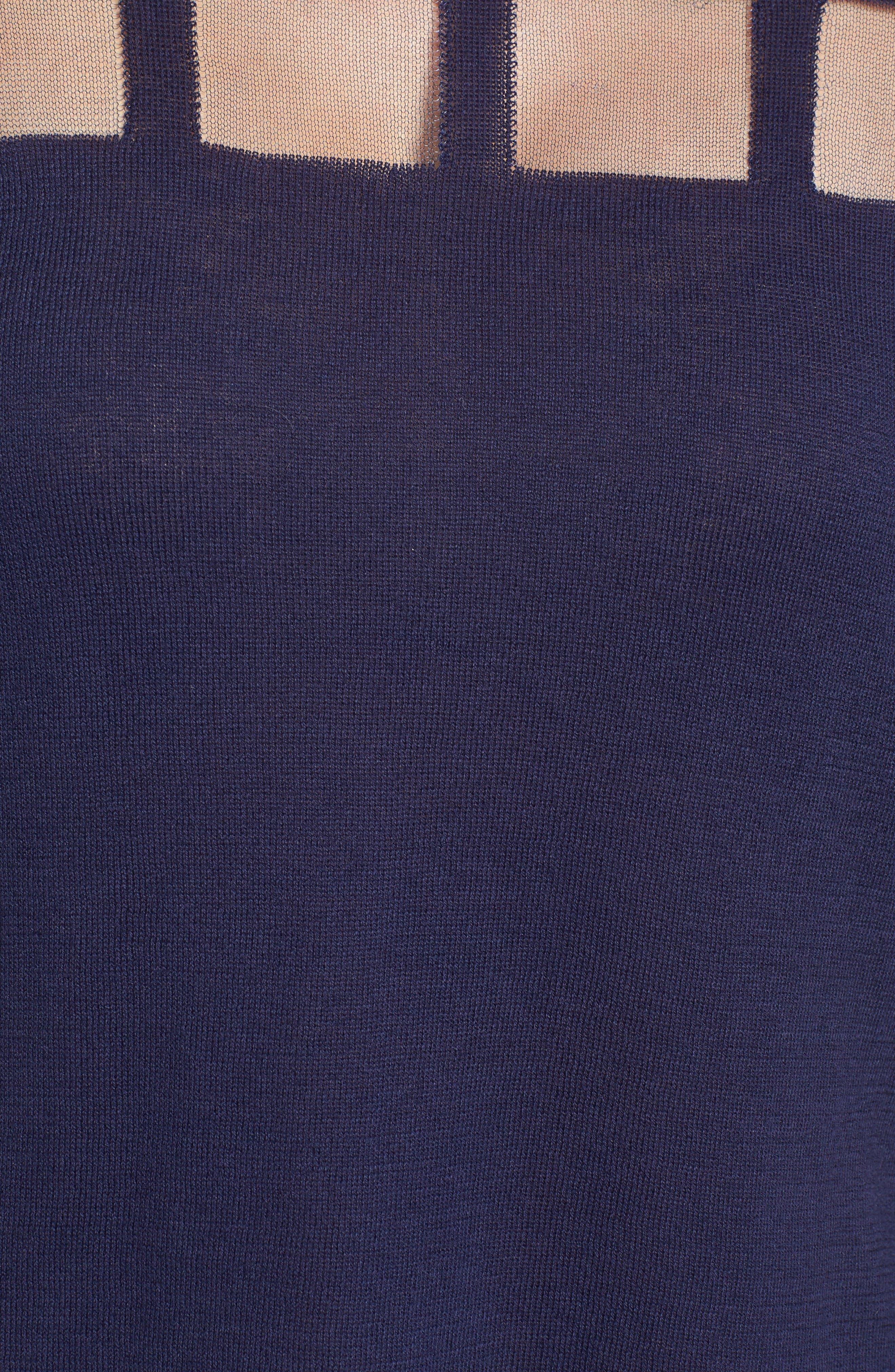 Alternate Image 5  - Trouvé Sheer Grid Yoke Sweater