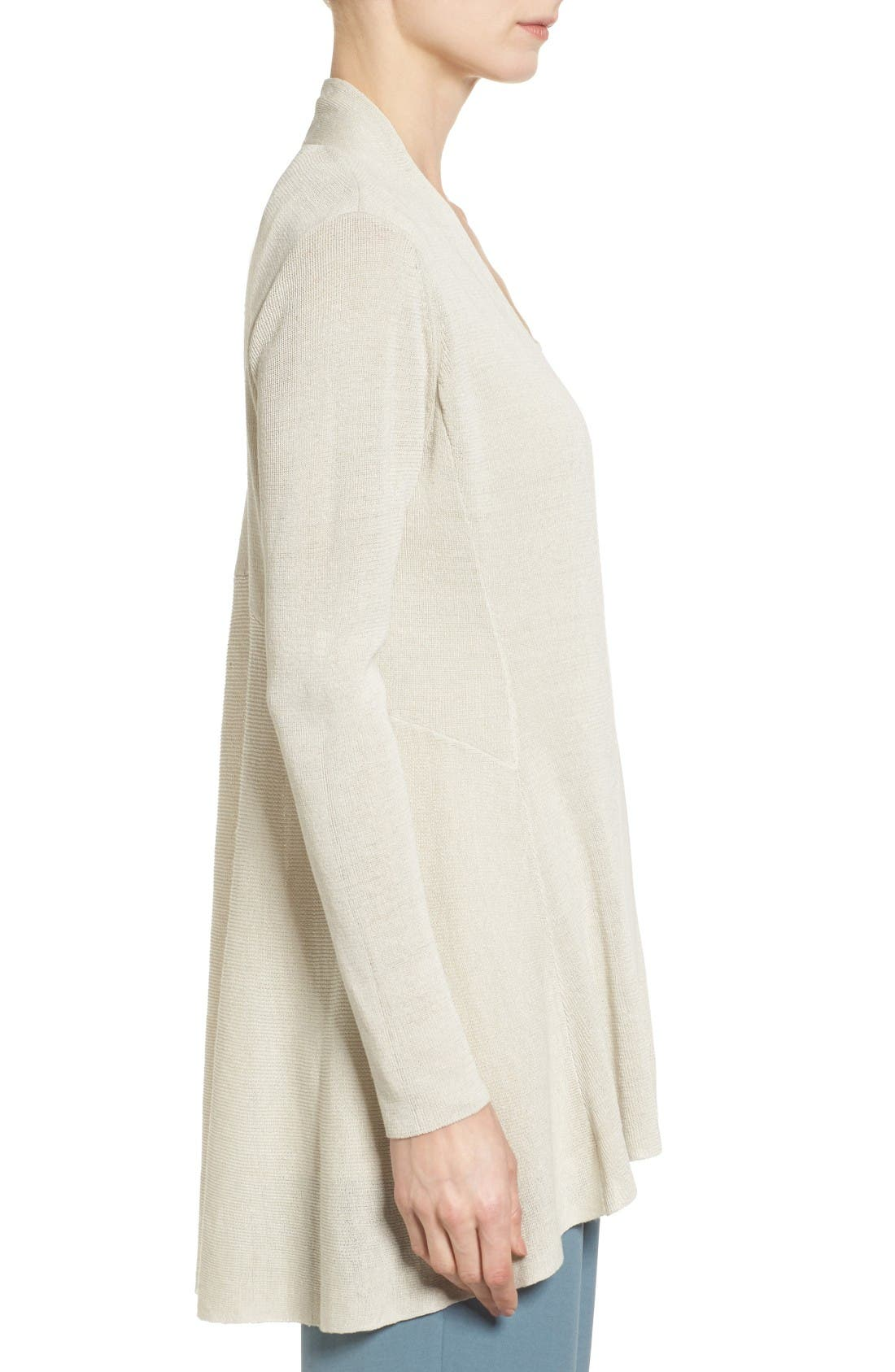 Alternate Image 3  - Eileen Fisher Shaped Organic Linen Blend Cardigan (Regular & Petite)