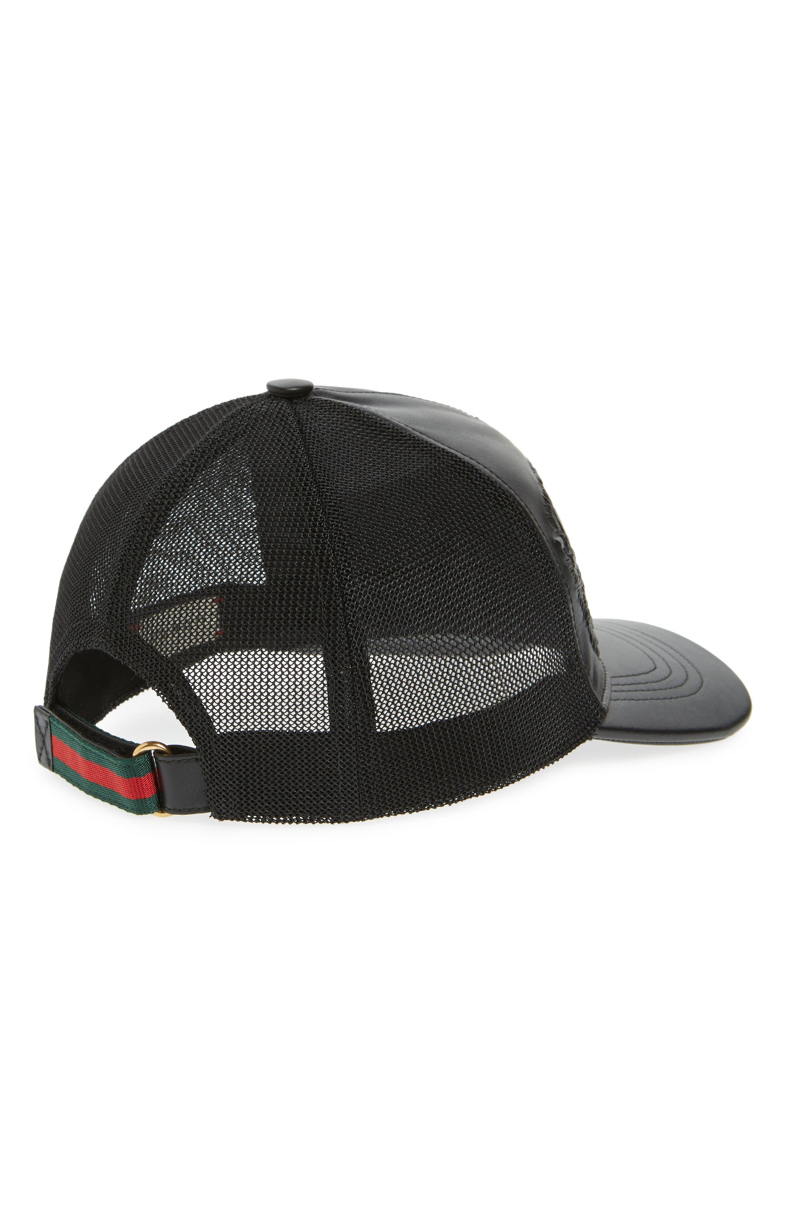 Alternate Image 2  - Gucci Tiger Leather Baseball Cap