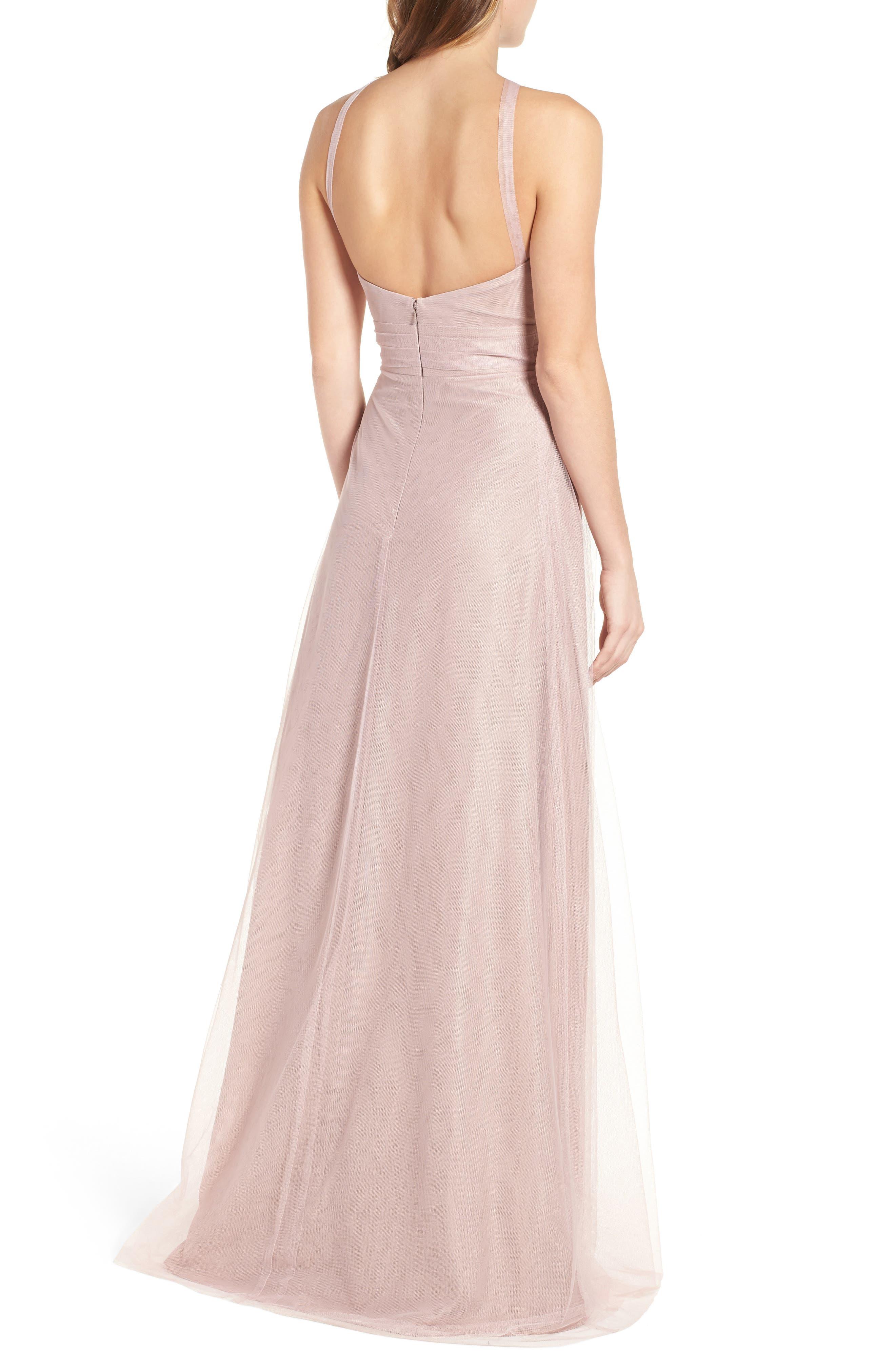 Alternate Image 3  - Monique Lhuillier Bridesmaids Tulle Halter Style Gown