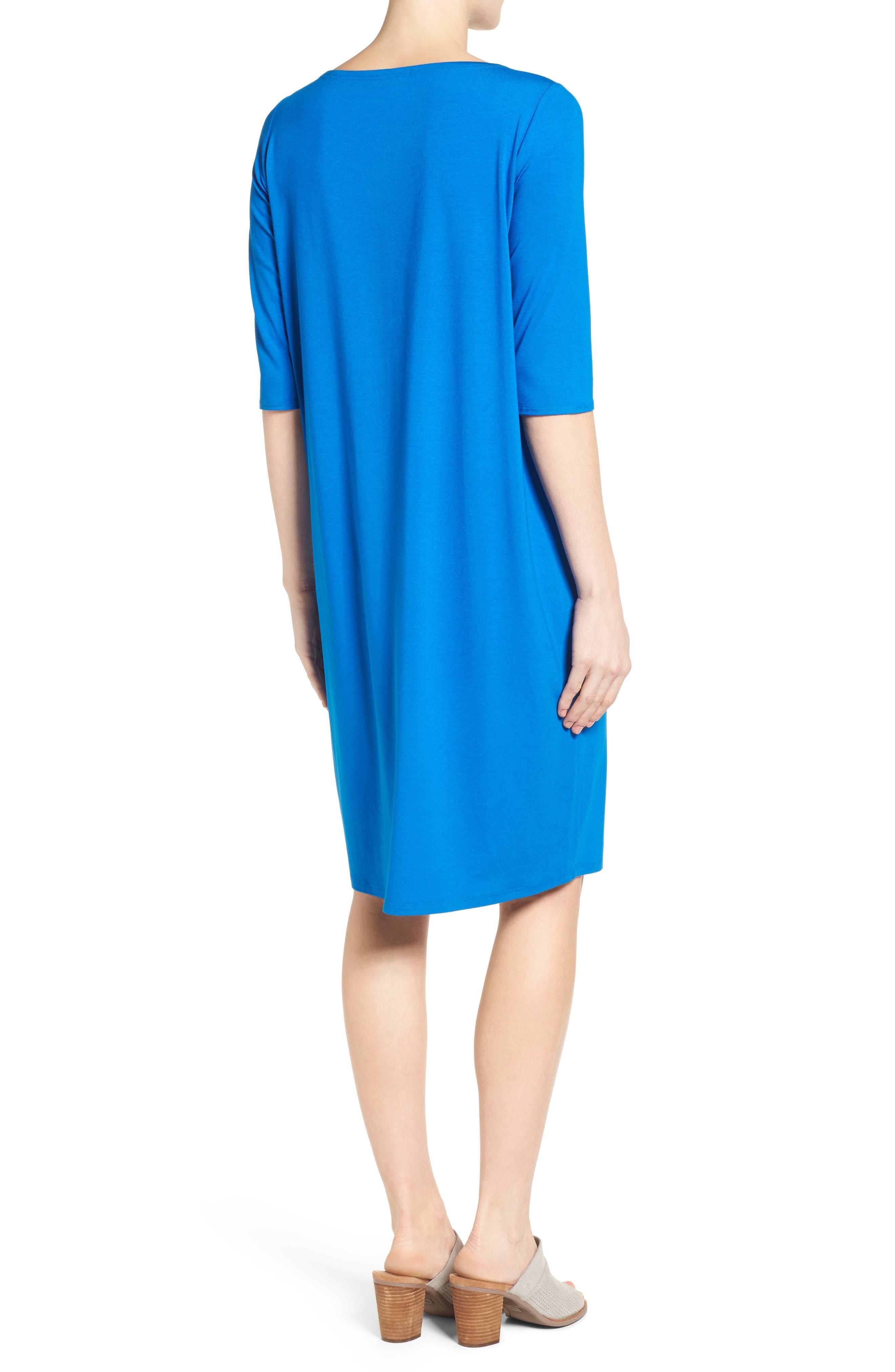 Alternate Image 2  - Eileen Fisher V-Neck Jersey Shift Dress (Regular & Petite)