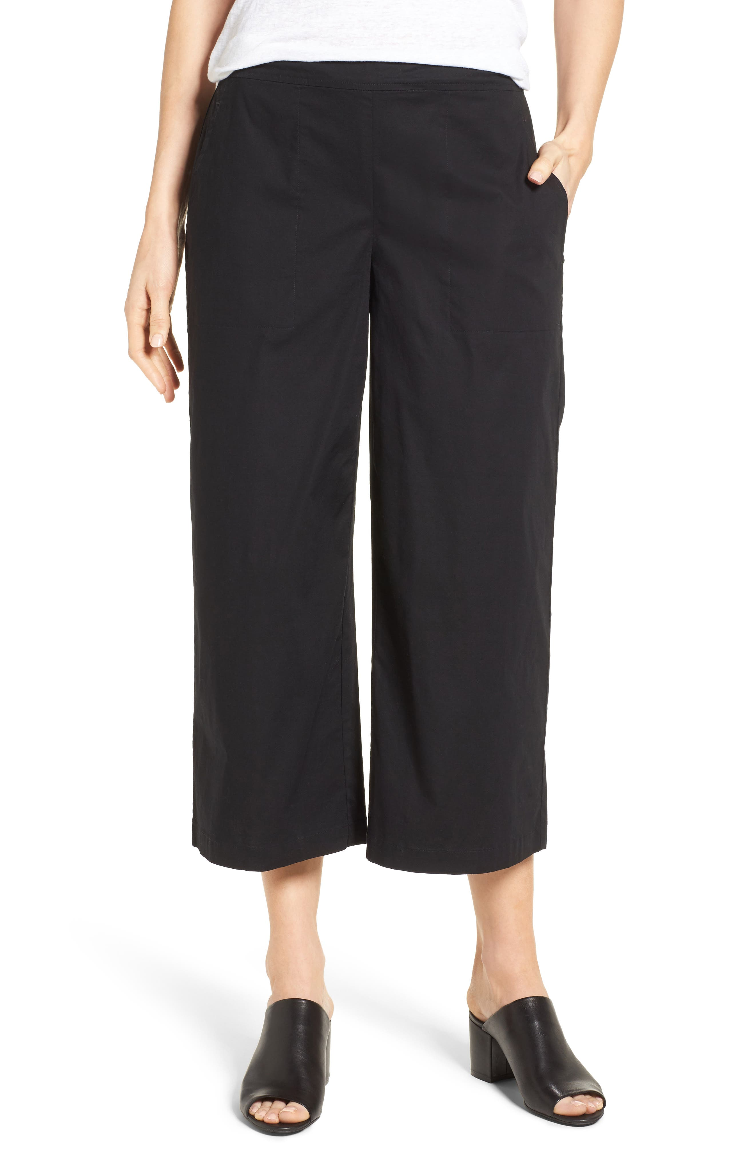 EILEEN FISHER Stretch Organic Cotton Crop Wide Leg