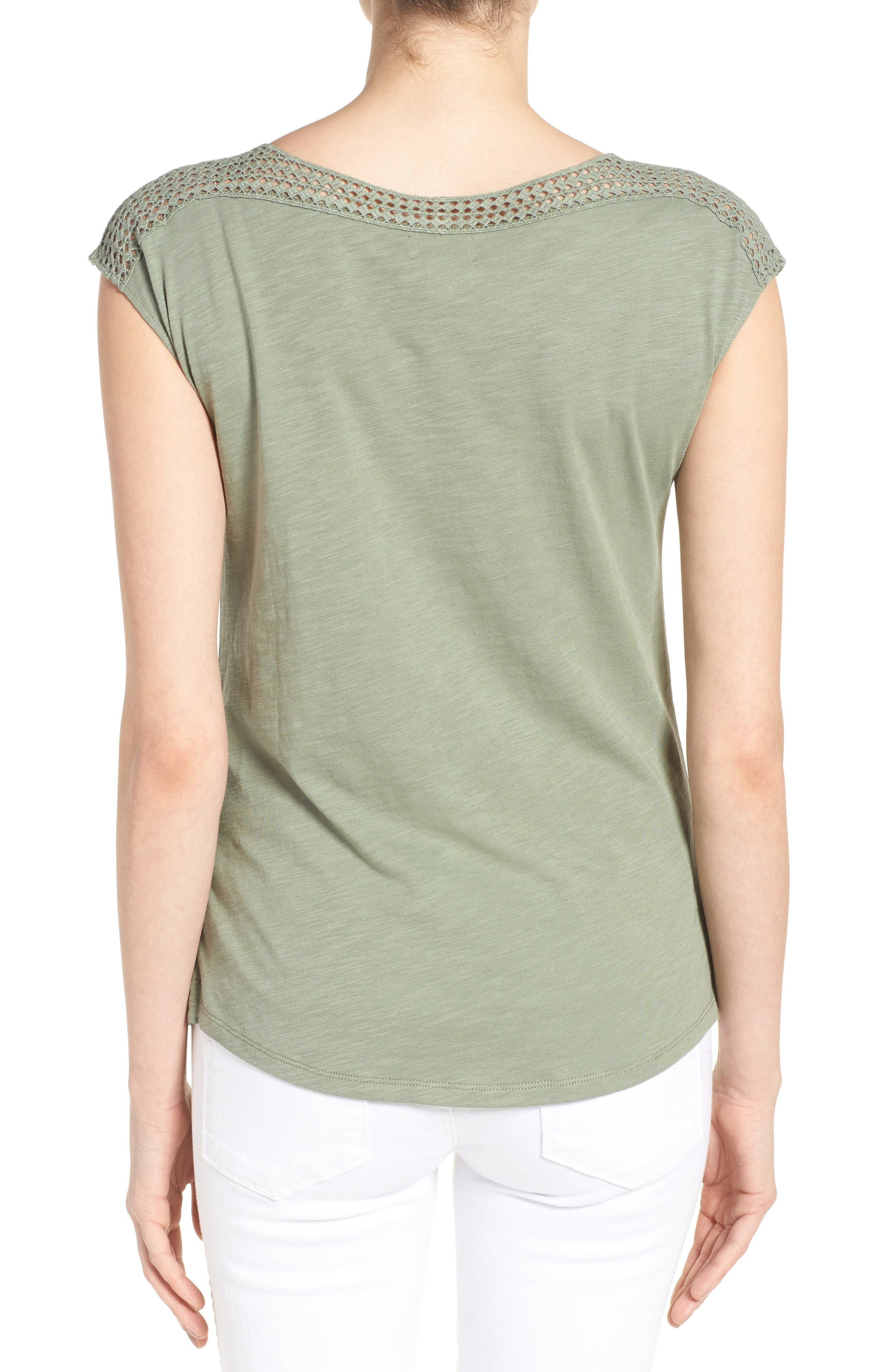 Alternate Image 2  - Caslon® Lace Shoulder Tee (Regular & Petite)