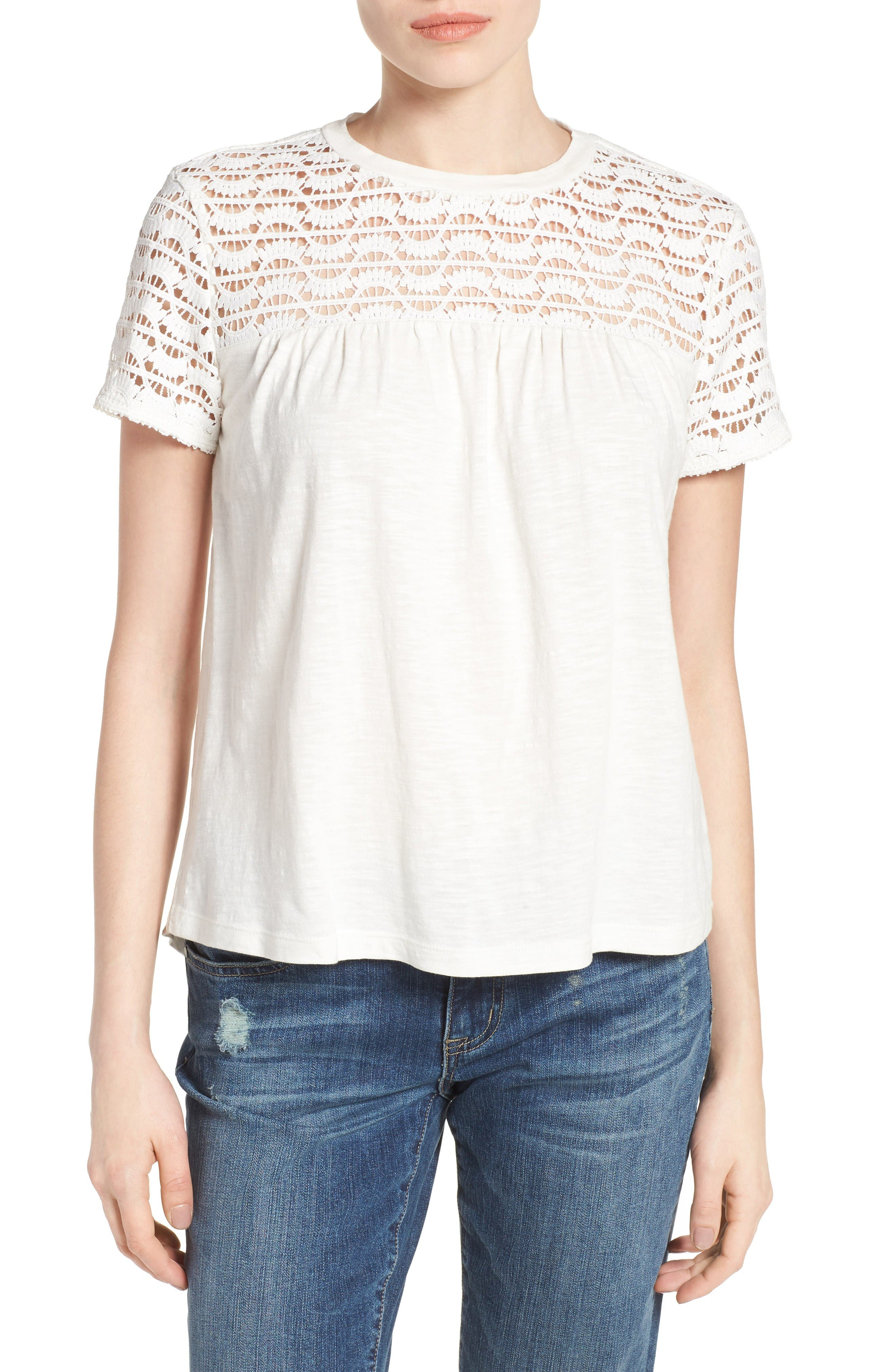 CASLON® Lace Yoke Knit Top