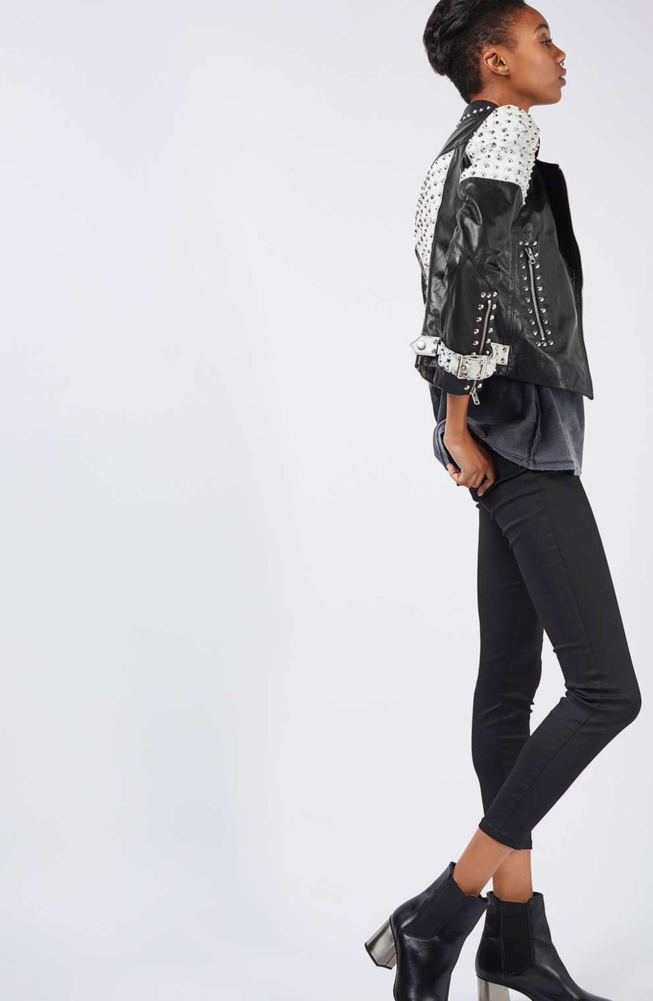 Alternate Image 6  - Topshop Maddox Studded Leather Jacket